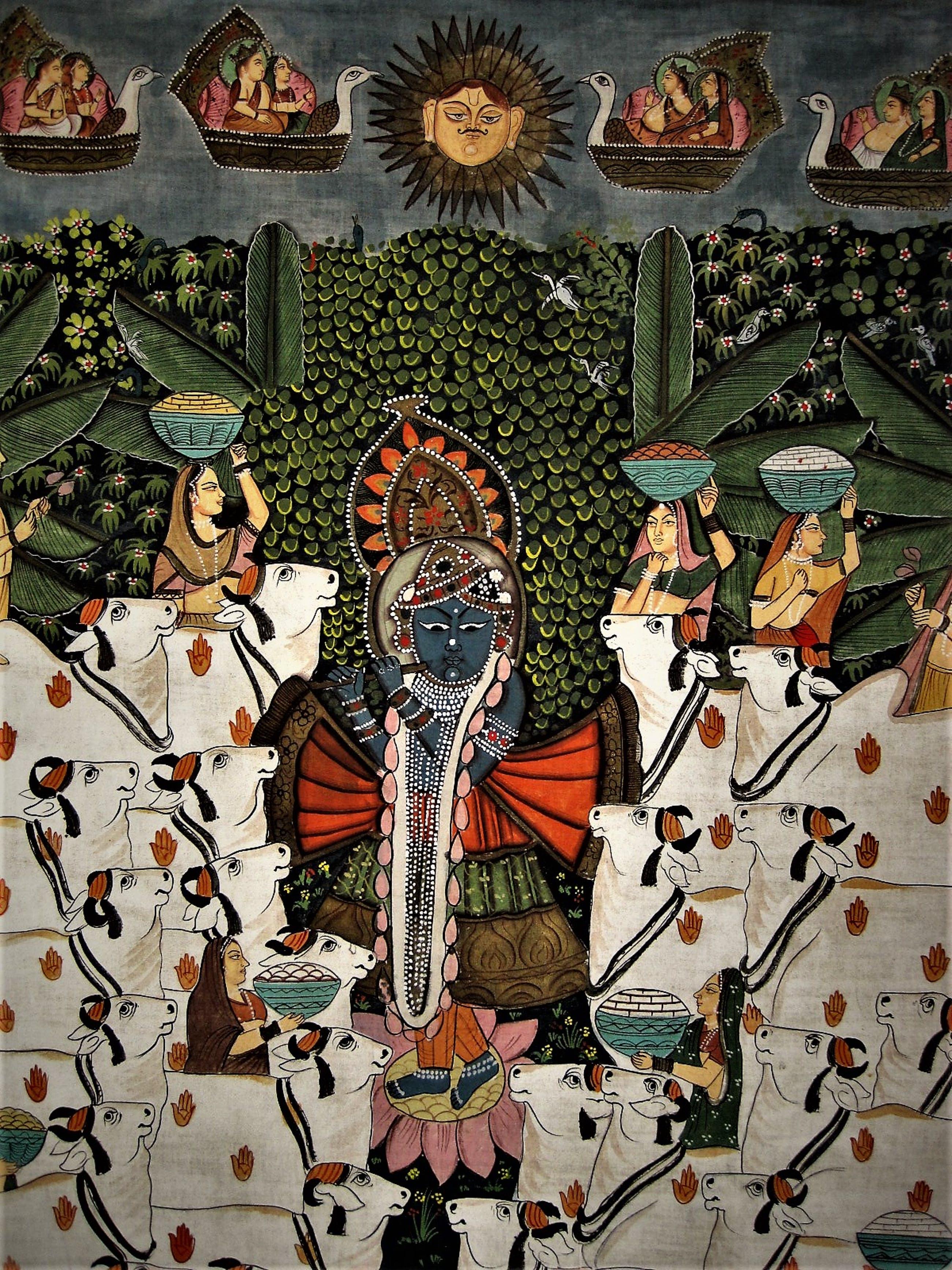 """Niet of onleesbaar gesigneerd - INDIA omstreeks 1960 - GROOT Tempera """"offer Ceremonie"""" schilderij kopen? Bied vanaf 10!"""