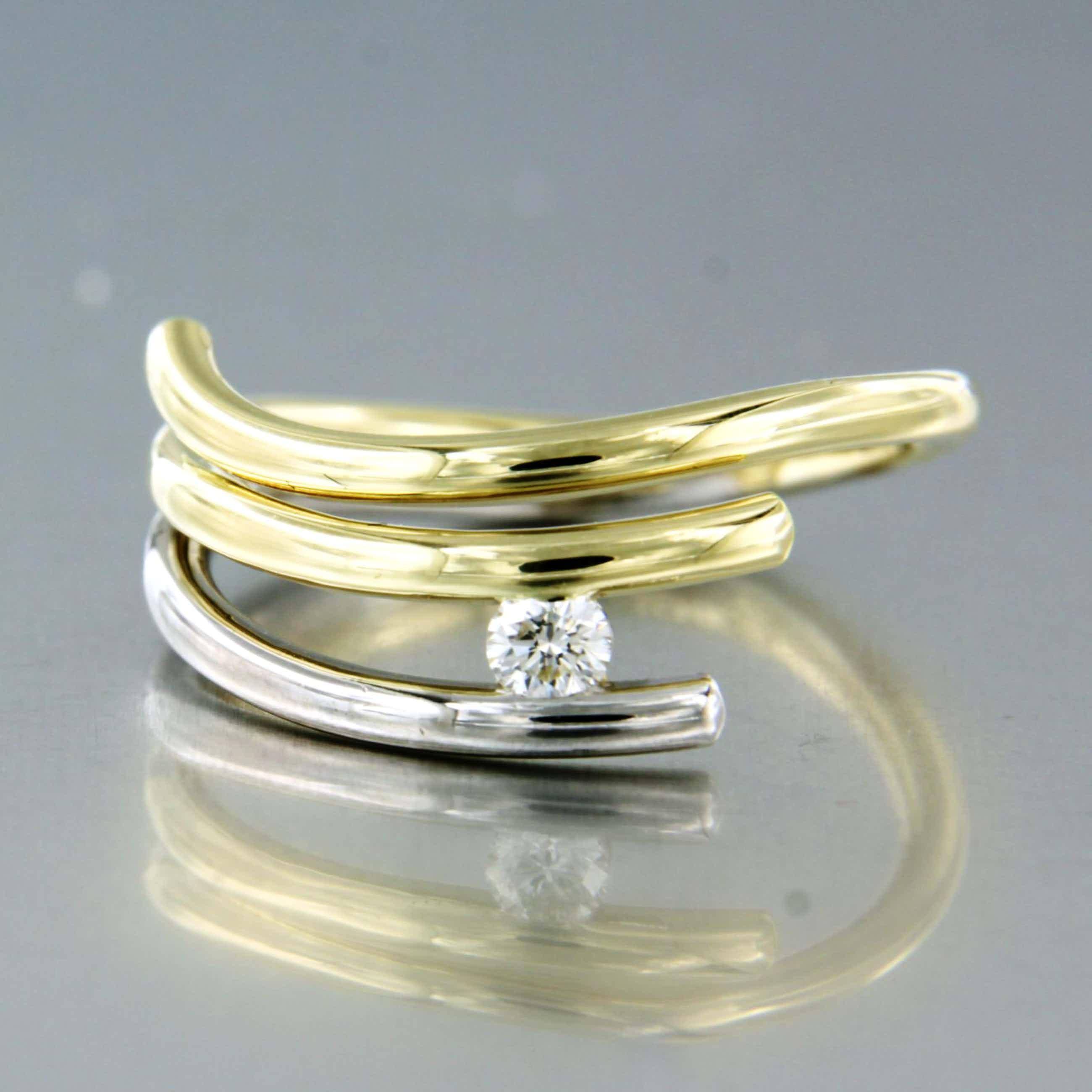 14K Goud - bicolor ring bezet met briljant geslepen diamant, ringmaat 17 (53) kopen? Bied vanaf 200!