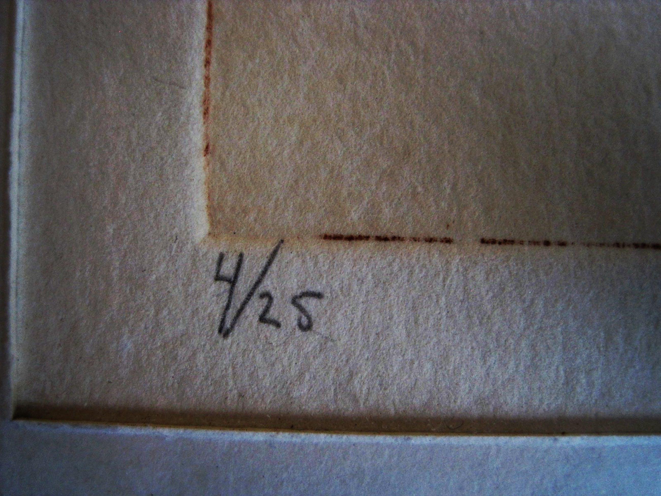 """Yvonne de Jonge-Melly - Knappe, in zeer kleine oplage gemaakte Kleuren Ets """"open doekje"""" gesigneerd kopen? Bied vanaf 10!"""