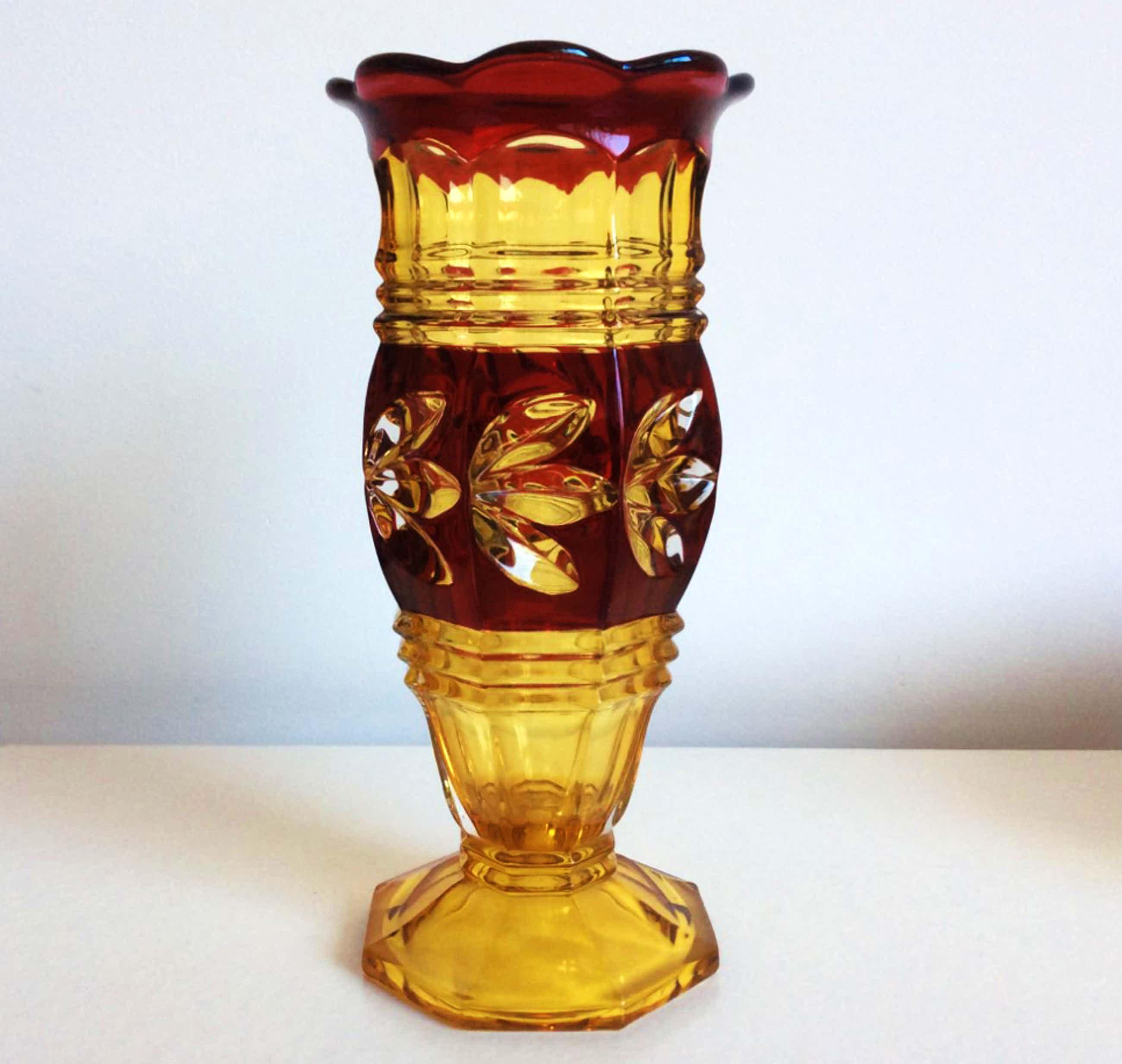 Val-Saint-Lambert - Art Deco uranium glazen vaas kopen? Bied vanaf 89!