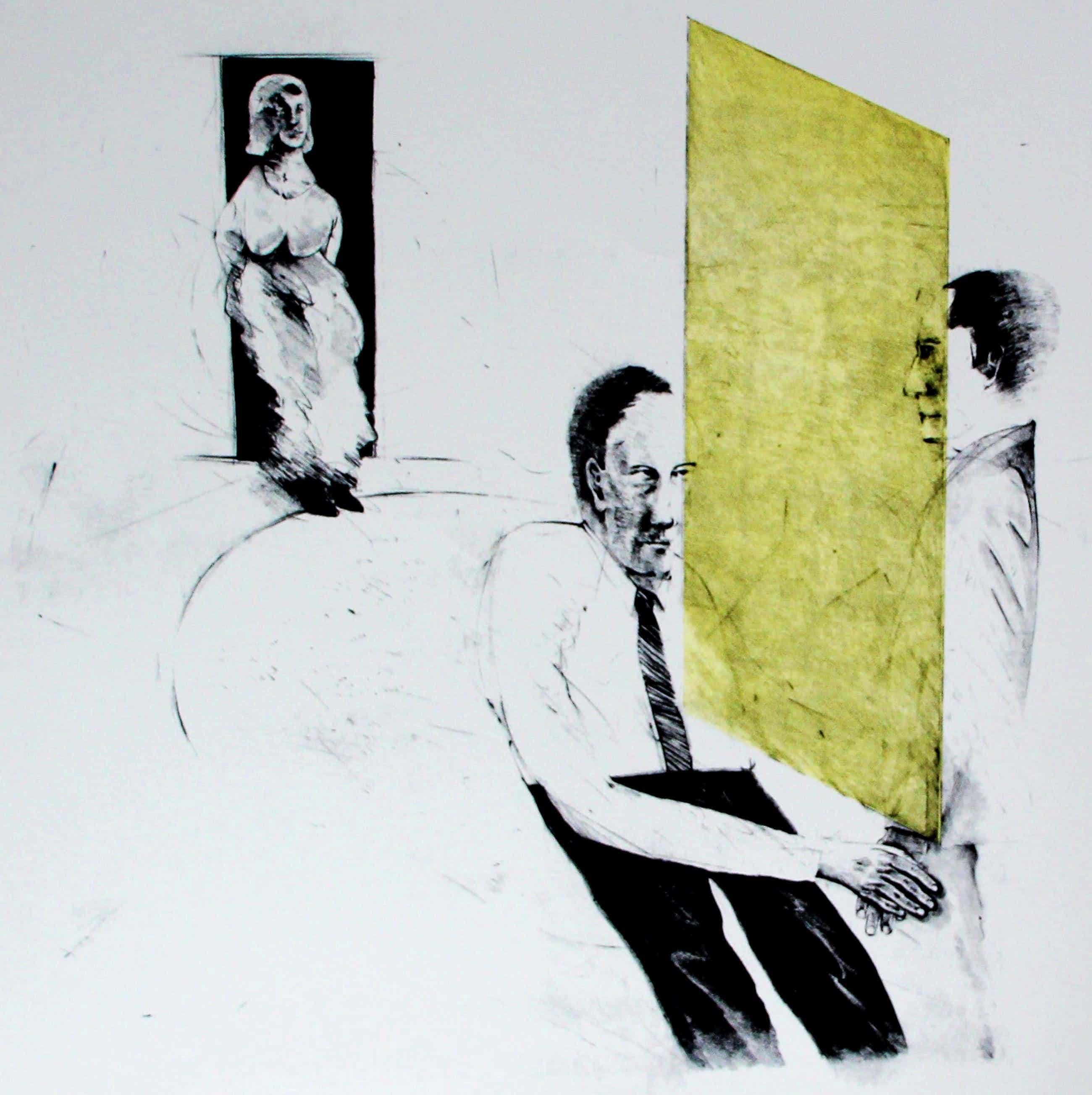 Kees Spermon - zeefdruk: conversation piece yellow - 1973 kopen? Bied vanaf 40!
