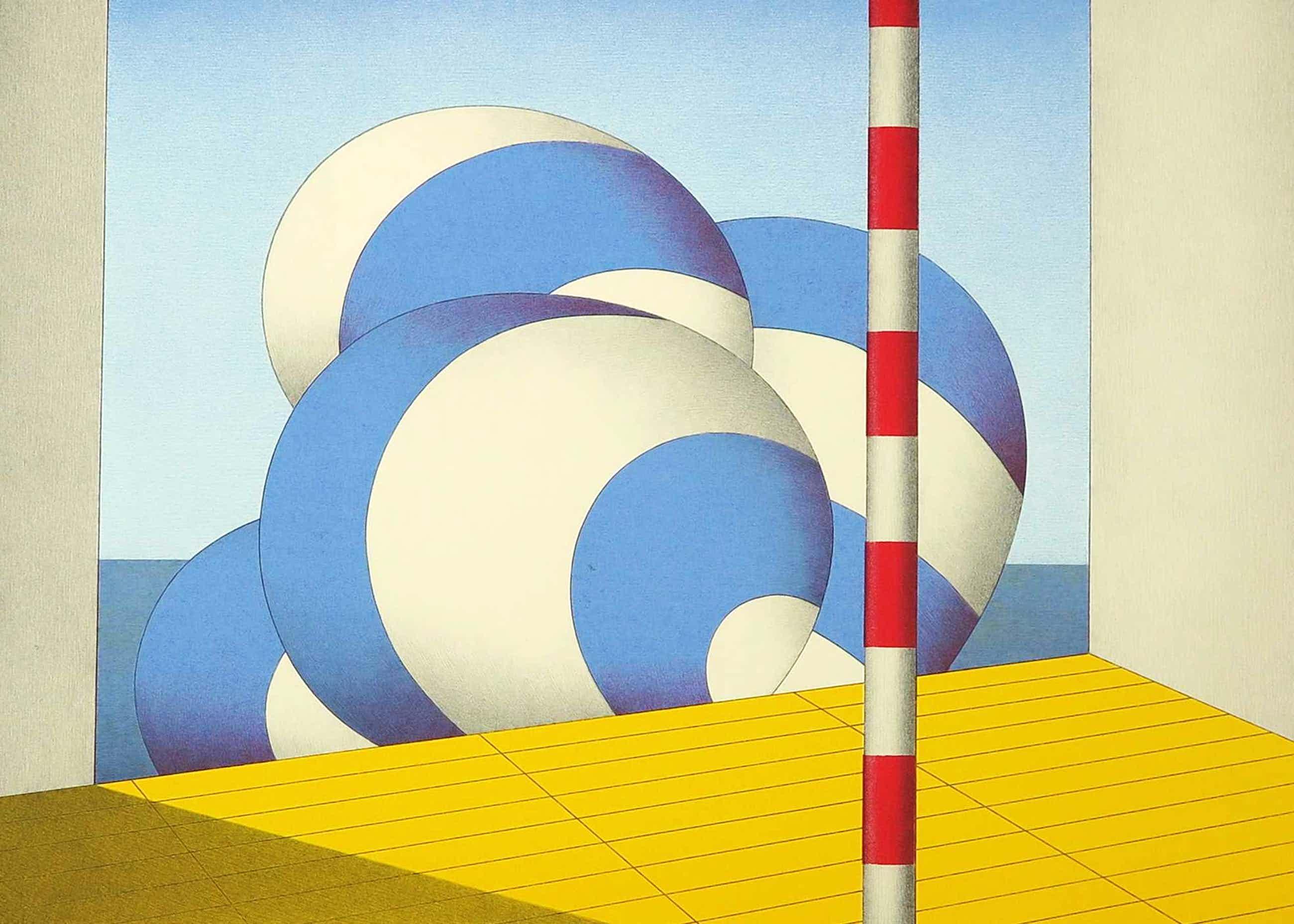 Marinus Fuit - Zeefdruk, Blauw-witte balonnen kopen? Bied vanaf 40!