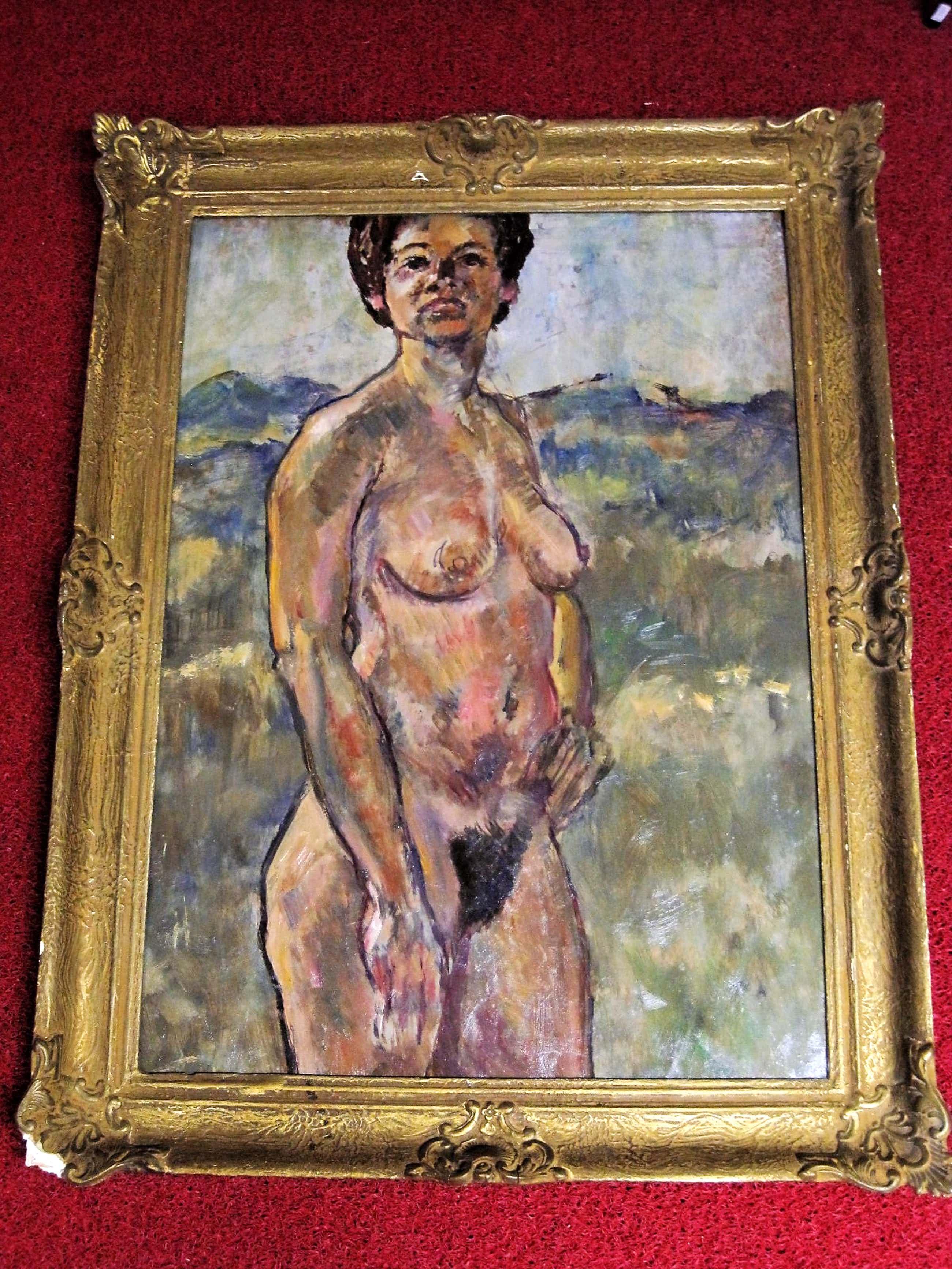 """Josef Santen - GROOT impressionistisch olieverf """"Naakte vrouw in de Duinen"""" kopen? Bied vanaf 105!"""