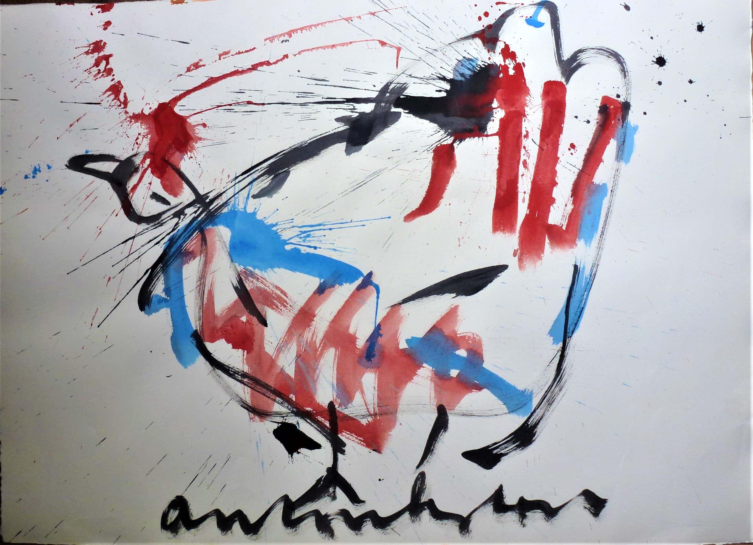 Anton Heyboer - De oer vogel kleurijke krachtige sierlijke schildering . kopen? Bied vanaf 450!