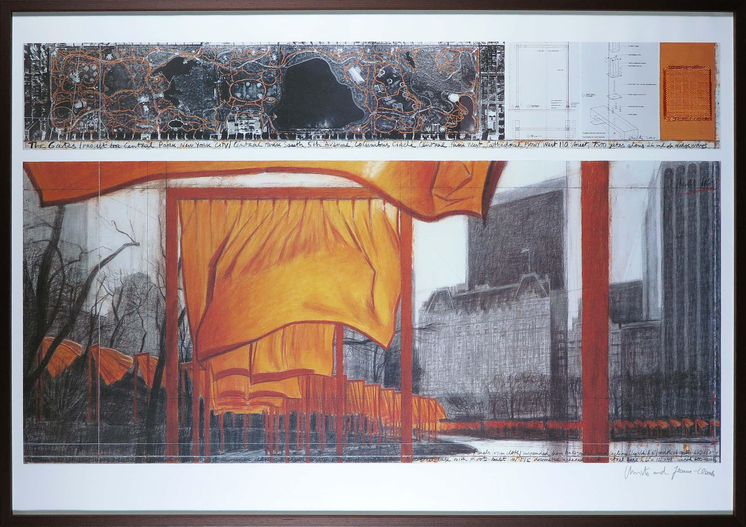 Christo - Handgesigneerd exemplaar The Gates met stukje stof - Ingelijst (Groot) kopen? Bied vanaf 380!