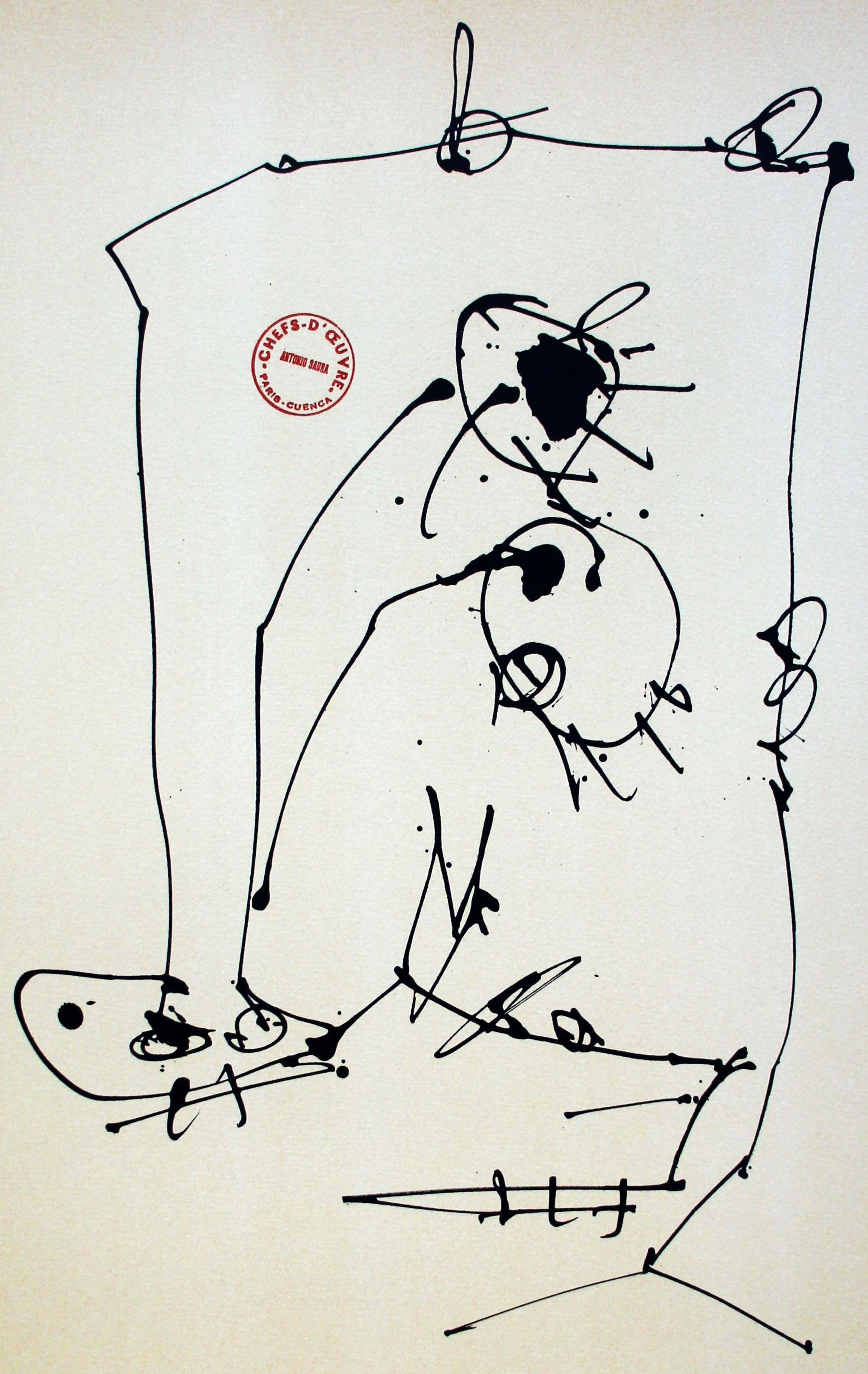 Antonio Saura - Litho: Vier maskers bij zelfportretten - 1981(2) kopen? Bied vanaf 250!