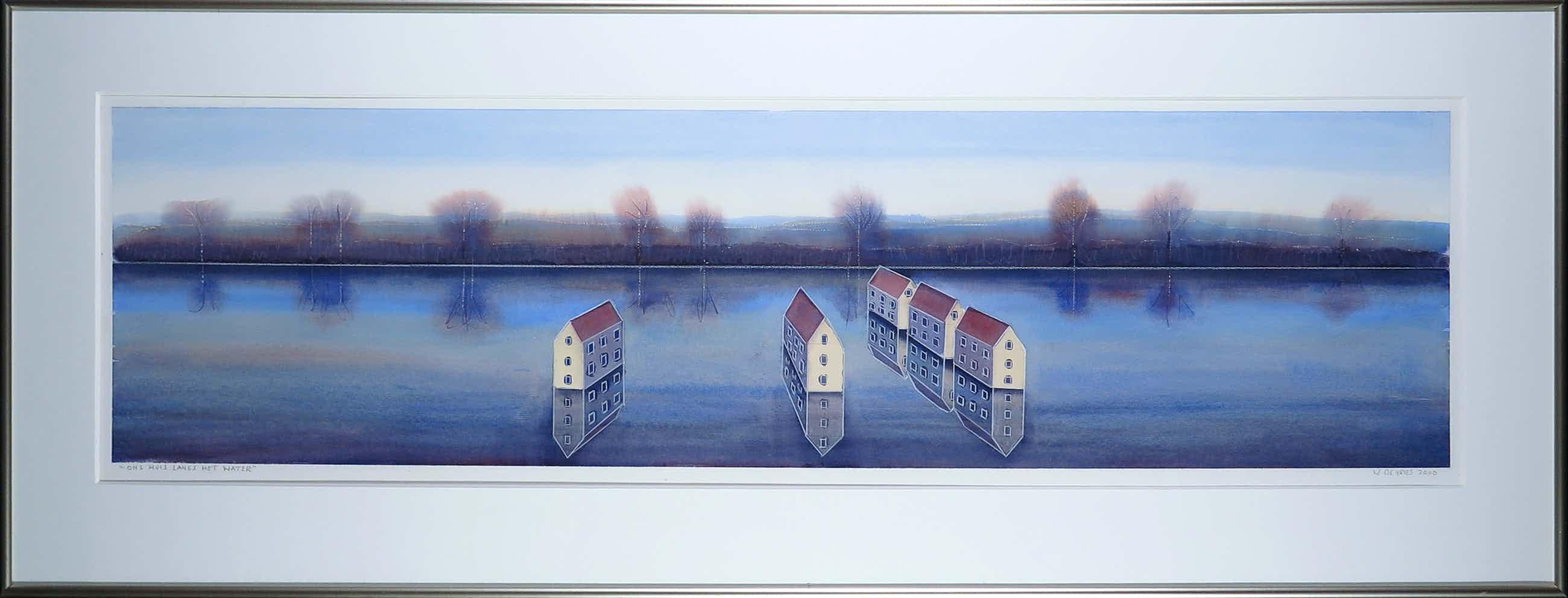 Willem de Vries - Aquarel, Ons huis langs het water - Ingelijst (Groot) kopen? Bied vanaf 40!