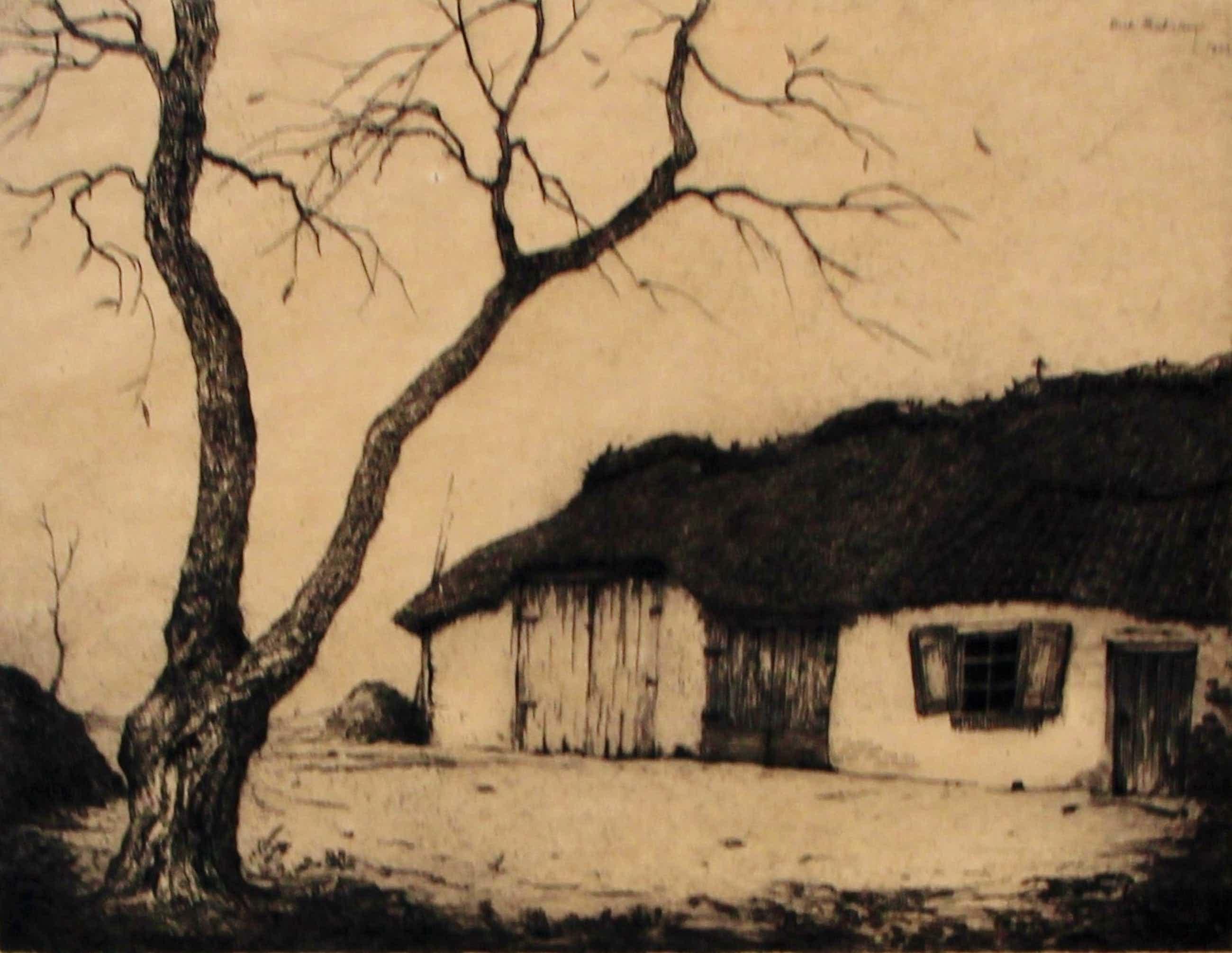 Dirk Baksteen - ets: landschap met boerenschuur - 1923 kopen? Bied vanaf 90!