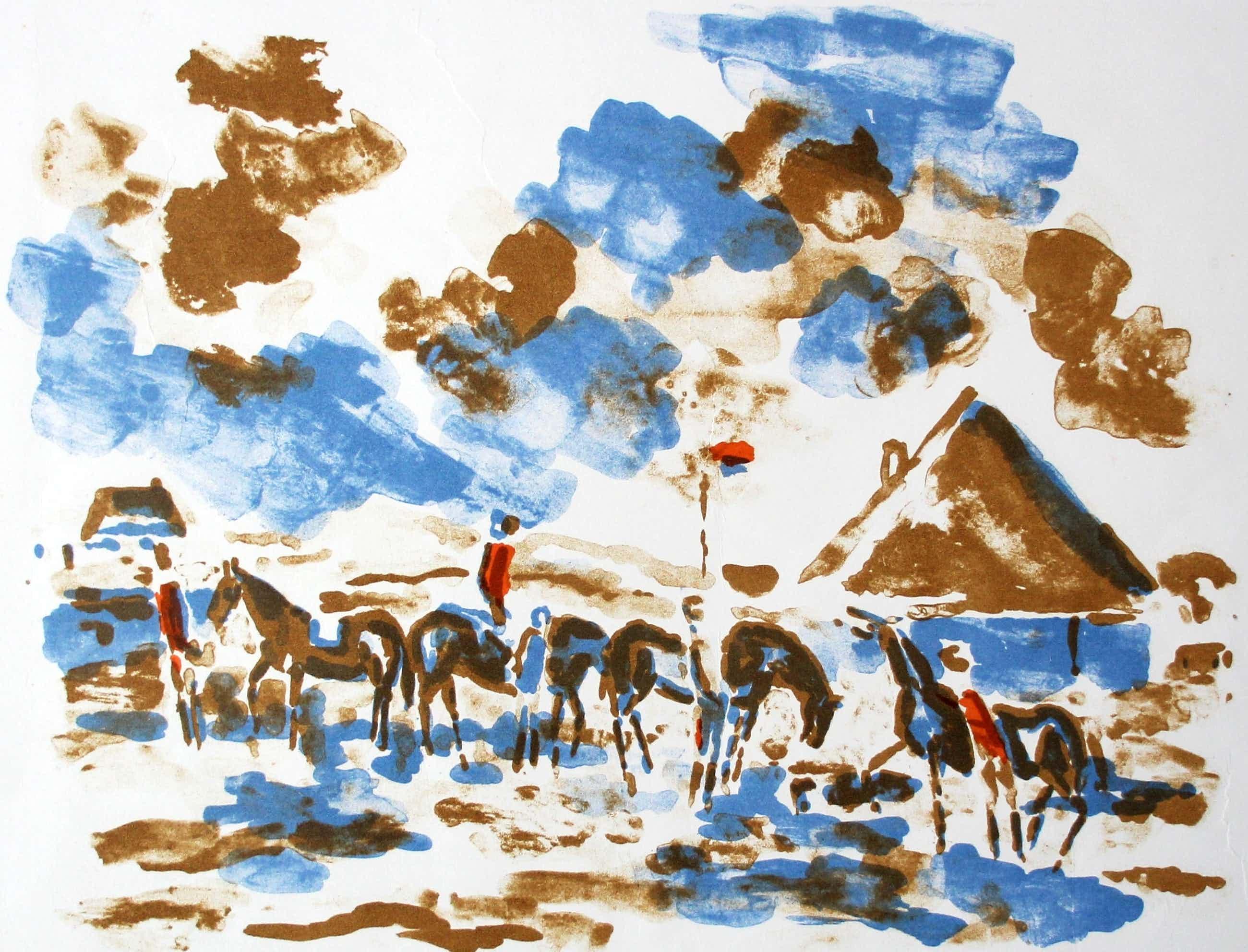 Friso ten Holt - Litho: Ruiters in landschap - 1967 kopen? Bied vanaf 49!