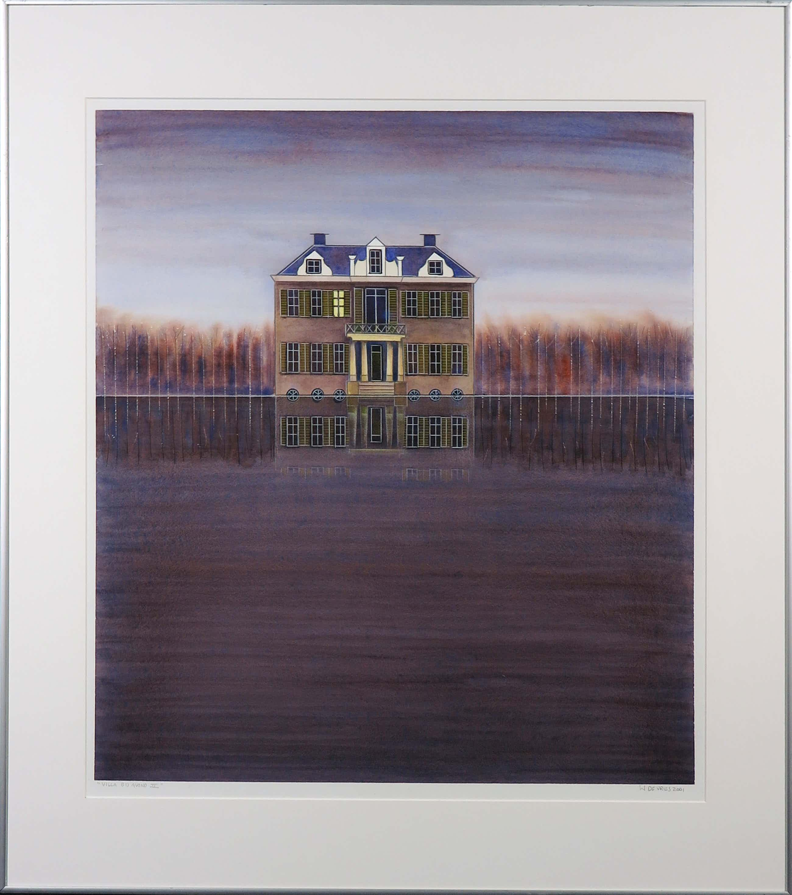 Willem de Vries - Aquarel, Villa bij avond II - Ingelijst kopen? Bied vanaf 65!