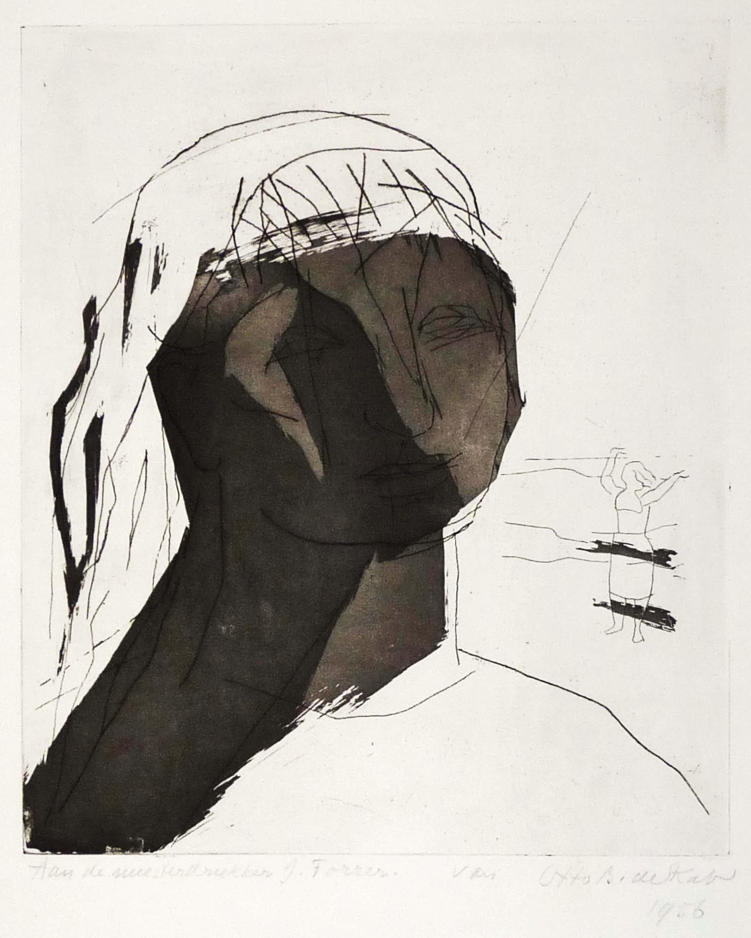 Otto B. de Kat - Portret van vrouw met hand voor haar gezicht kopen? Bied vanaf 49!