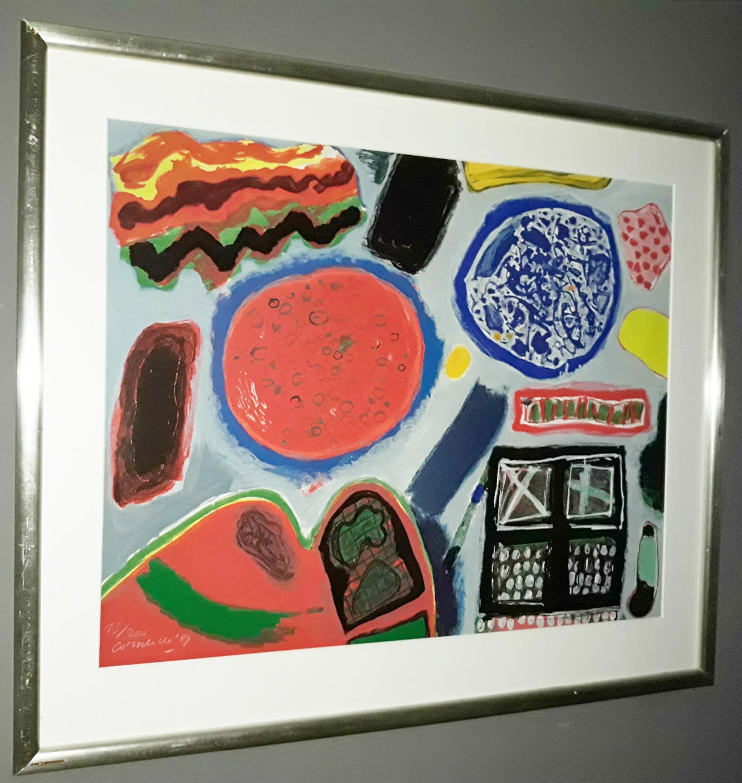 Corneille - Abstracte compositie, zeefdruk (mooi ingelijst, groot) kopen? Bied vanaf 395!