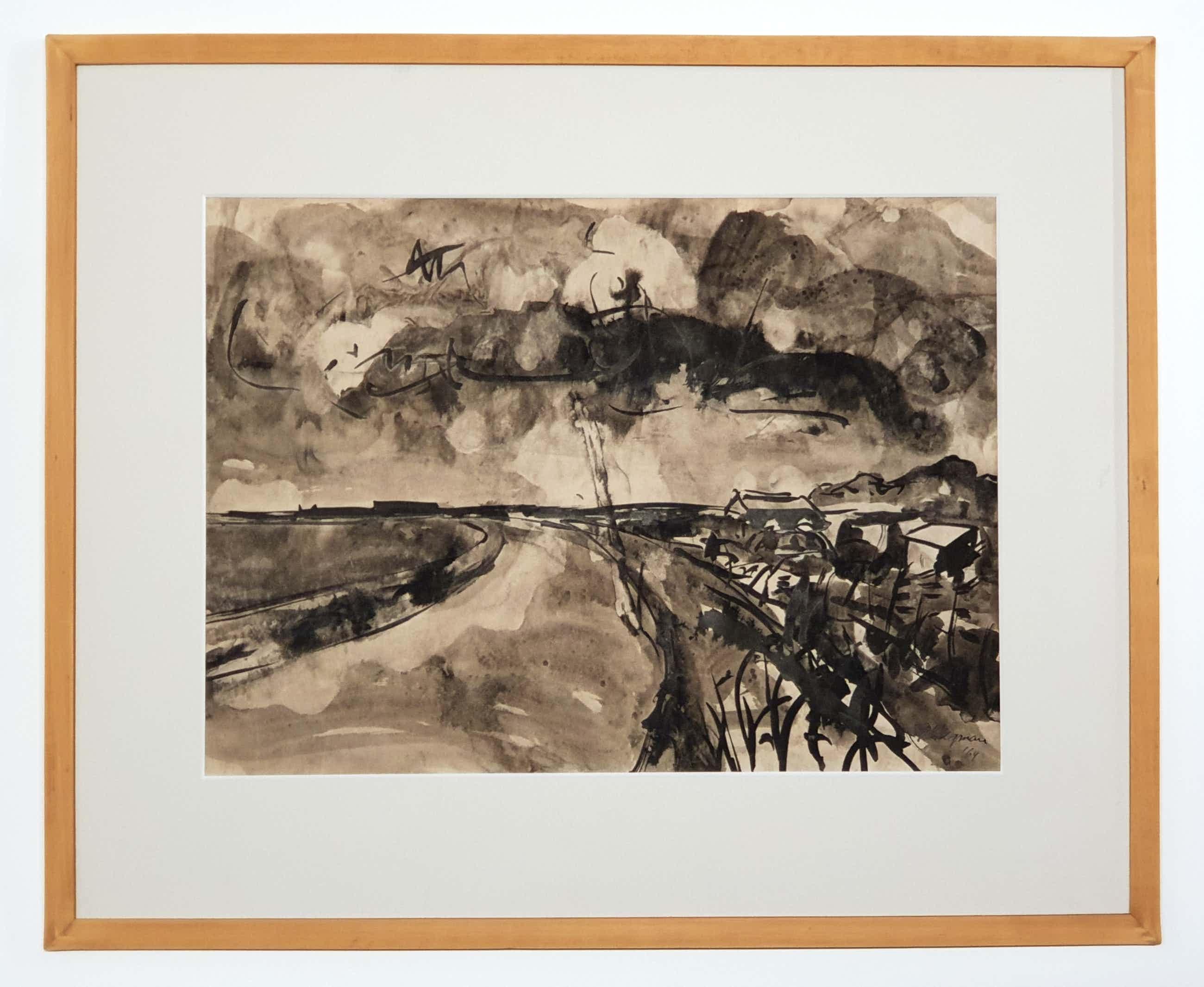 Piet Wiegman (II) - Inkttekening landschap 1964 kopen? Bied vanaf 40!