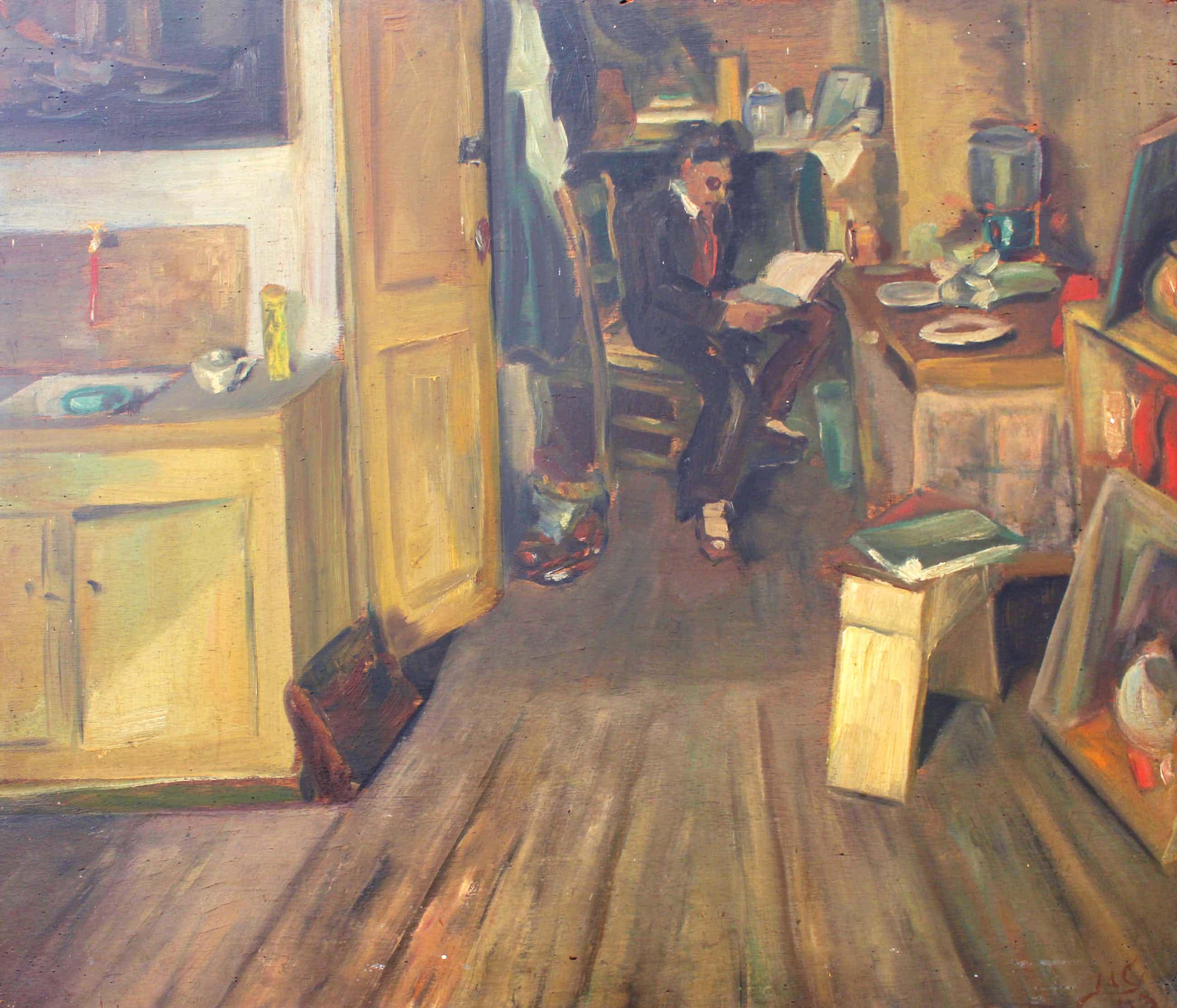 Jaap de Carpentier - schilderij - 'Mijn Basis in Amsterdam' - 1943 kopen? Bied vanaf 275!
