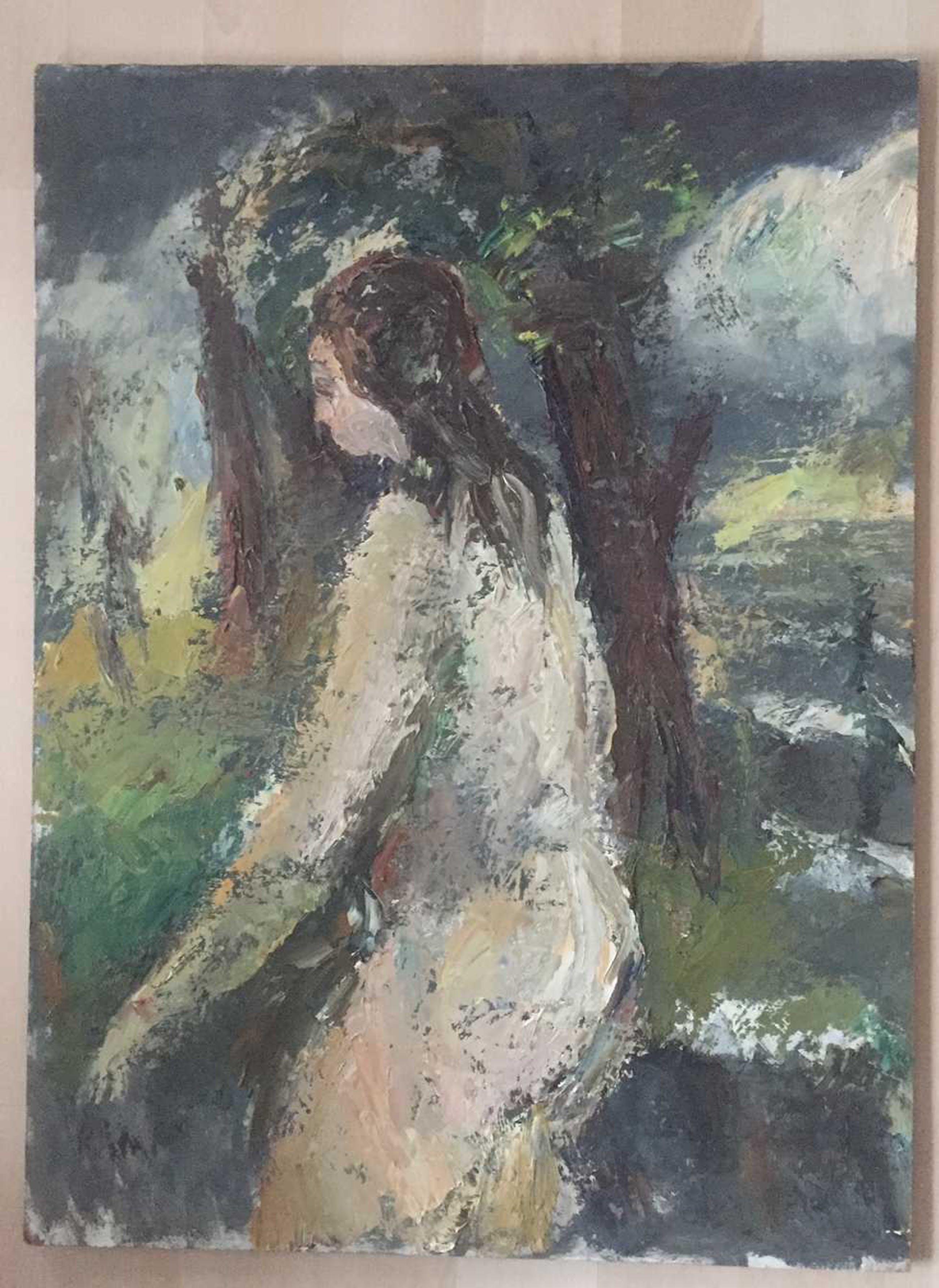 Piet Kloes - expressief half-naakt in het bos kopen? Bied vanaf 100!