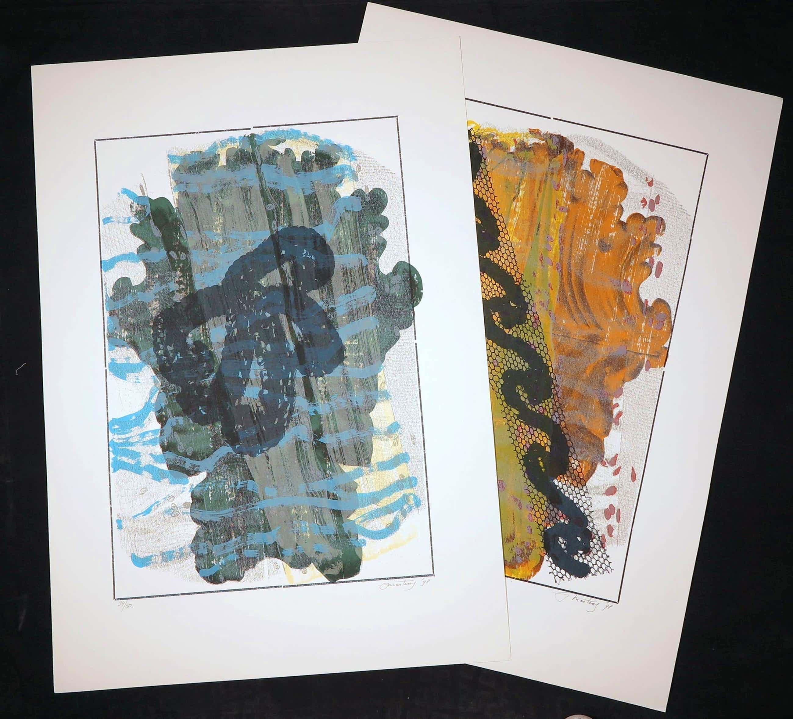 Jan Martens - Lot van twee zeefdrukken, Atmospheric Phenomena I en II (Groot) kopen? Bied vanaf 3!