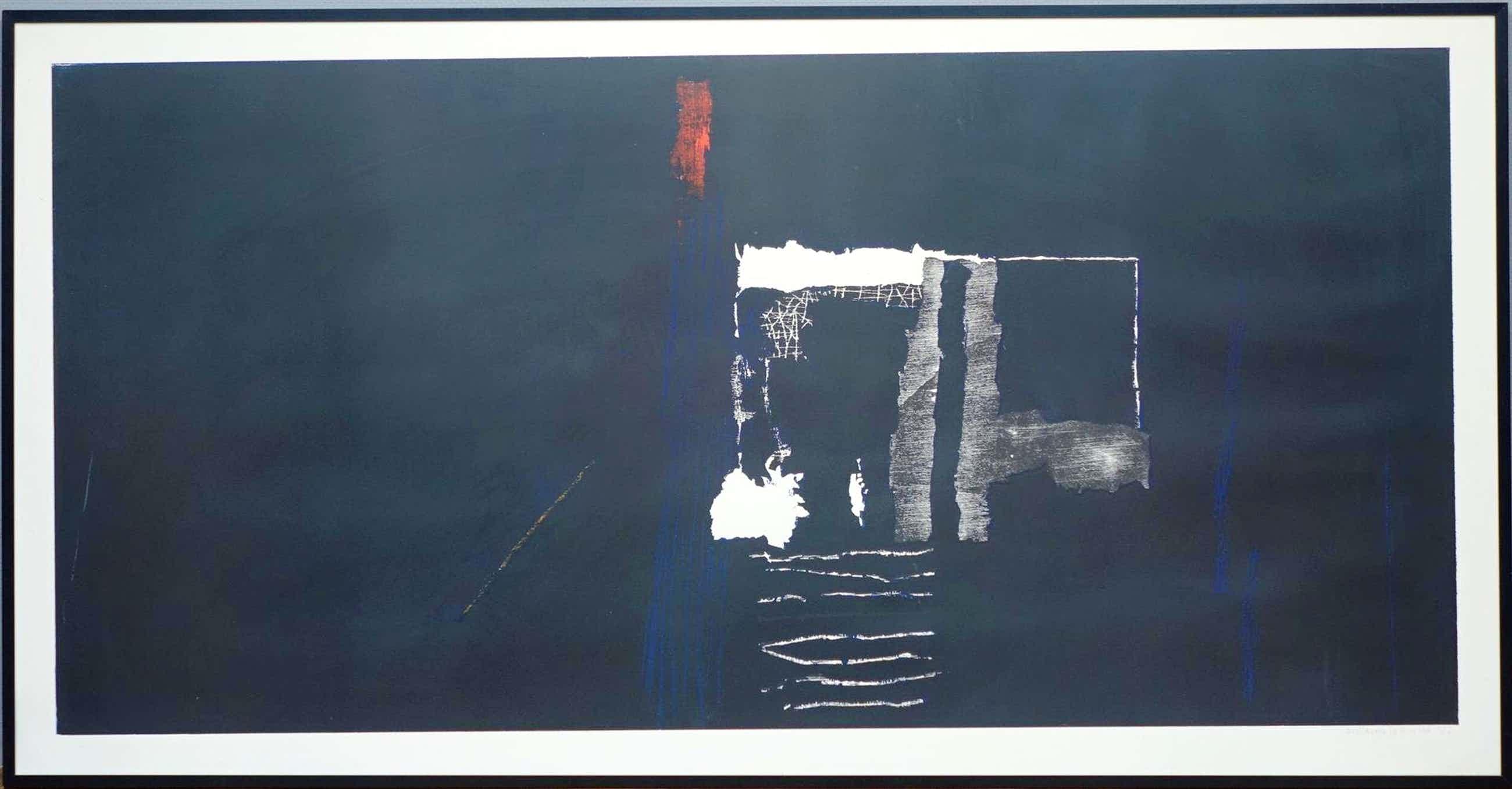 Guillaume Le Roy - Compositie zwart en rood-Barth lijst- Zeer groot! / Handgesign. / kleine oplage kopen? Bied vanaf 315!
