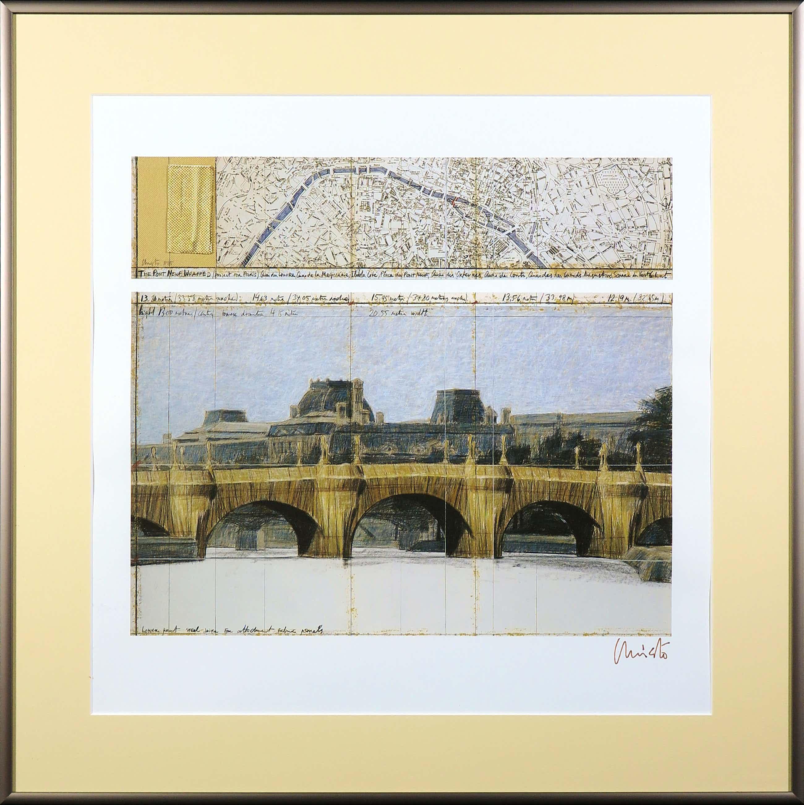 Christo - Handgesigneerd exemplaar The Pont Neuf Wrapped met stukje stof - Ingelijst kopen? Bied vanaf 250!