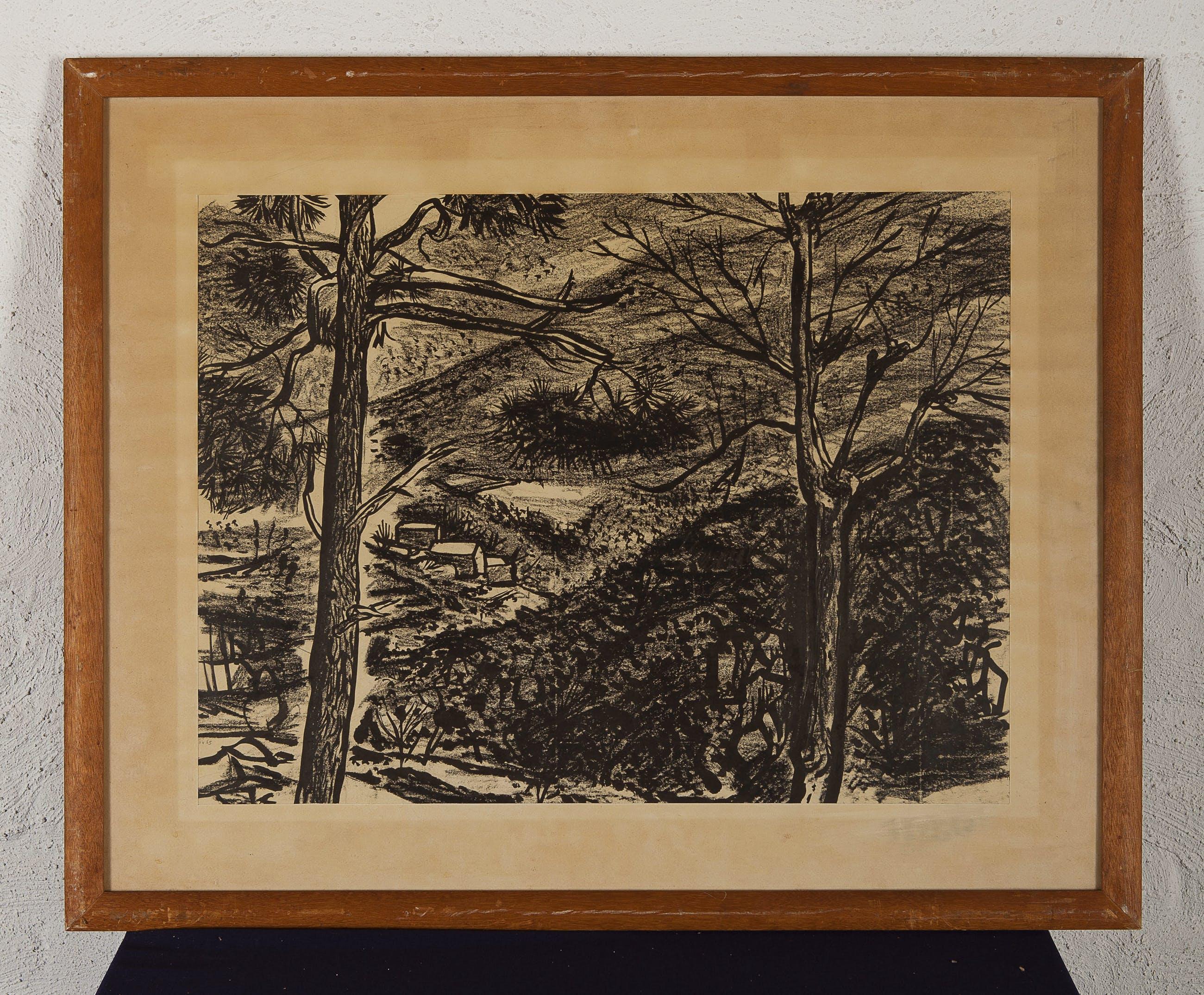 Thijs Overmans - Bergen - 1958 - inkt op papier - BKR Den Haag kopen? Bied vanaf 20!