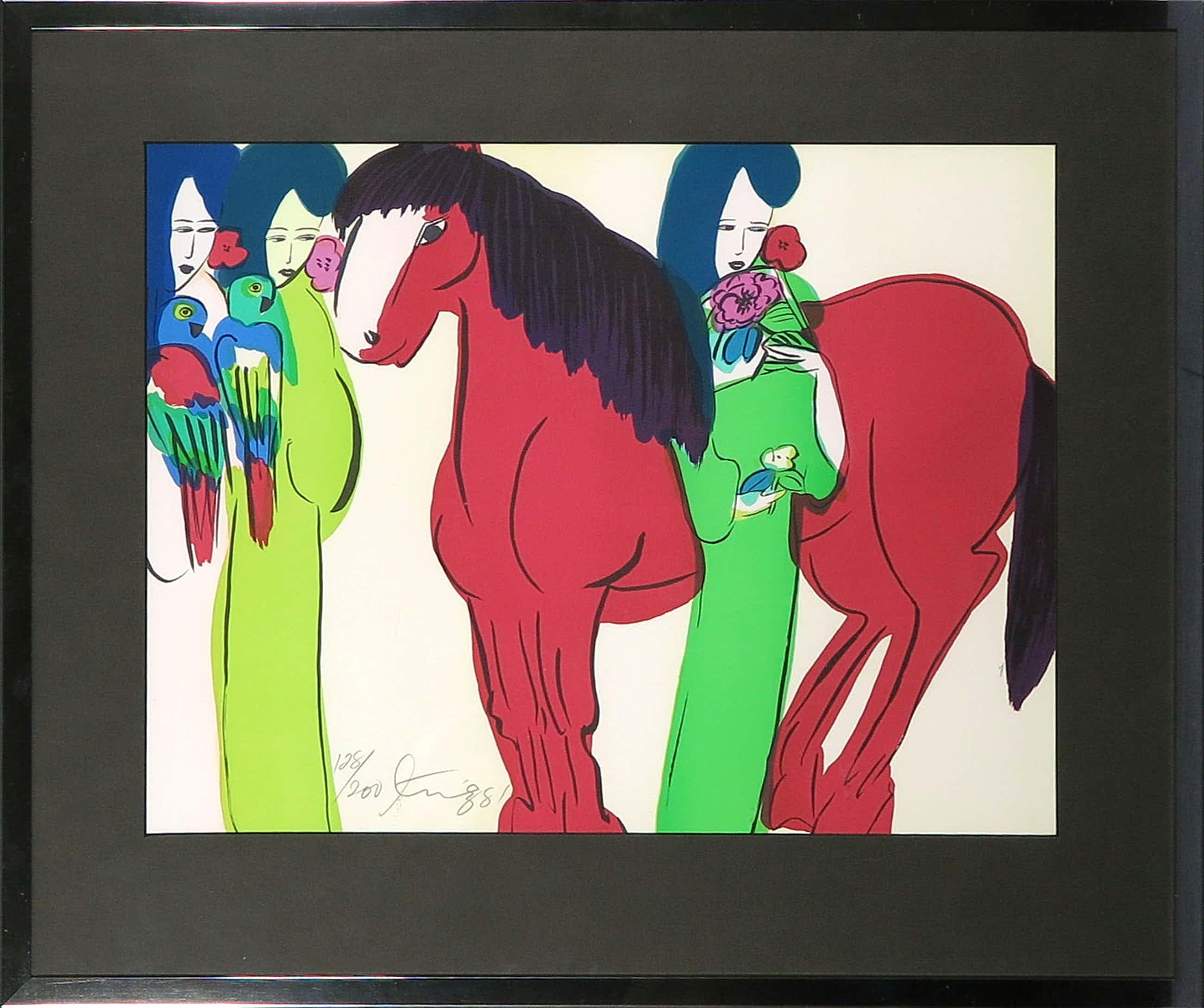 Walasse Ting - Zeefdruk, Geisha's met paard - Ingelijst kopen? Bied vanaf 310!