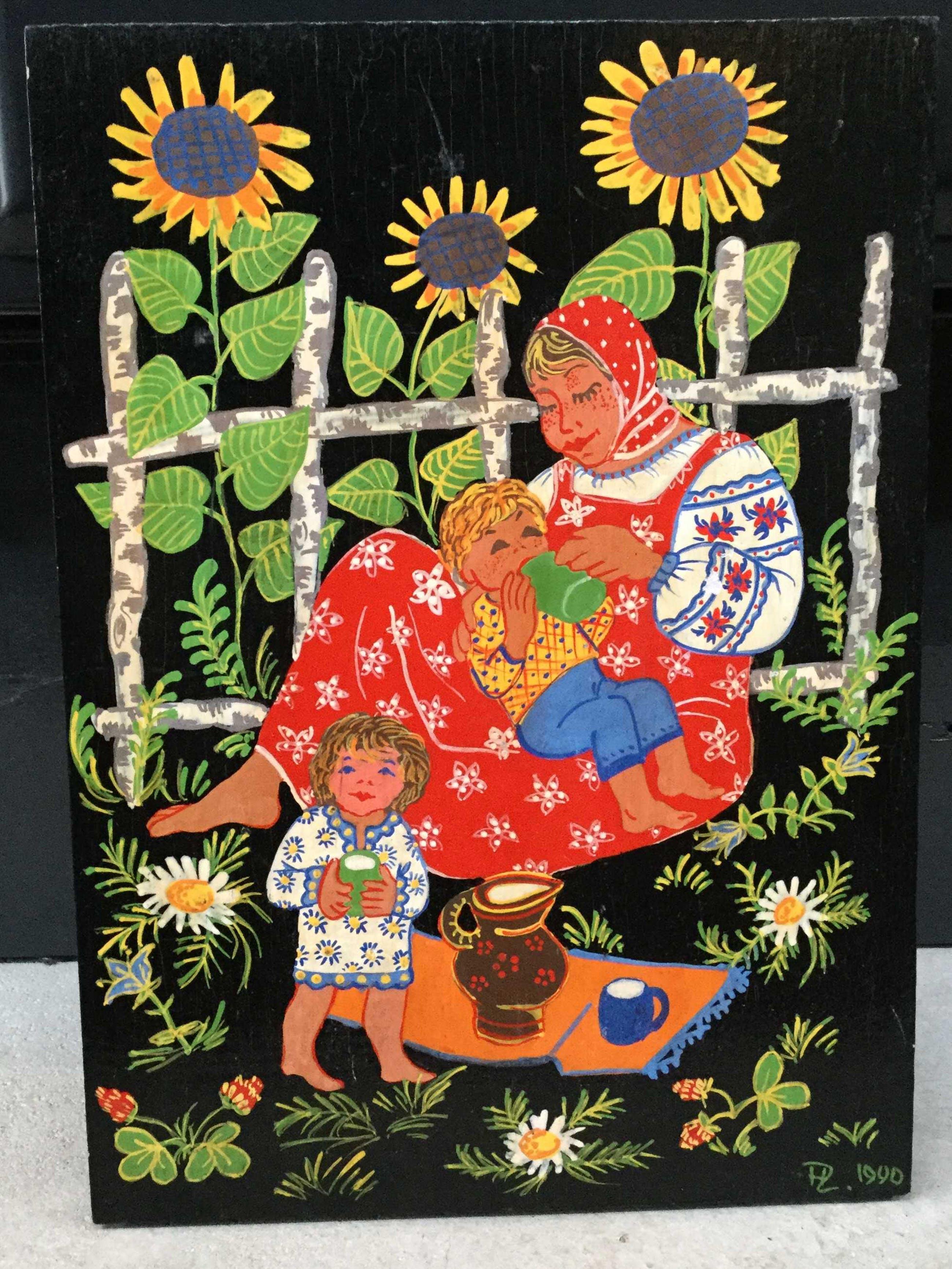 Niet of onleesbaar gesigneerd - C3533 - Moeder met kind voor zonnebloemen kopen? Bied vanaf 10!