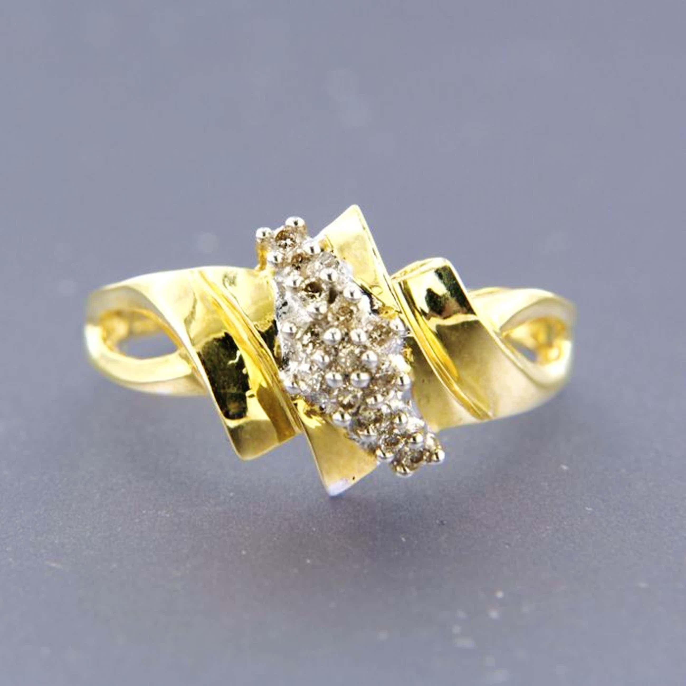 14K Goud - geelgouden ring met diamant kopen? Bied vanaf 104!
