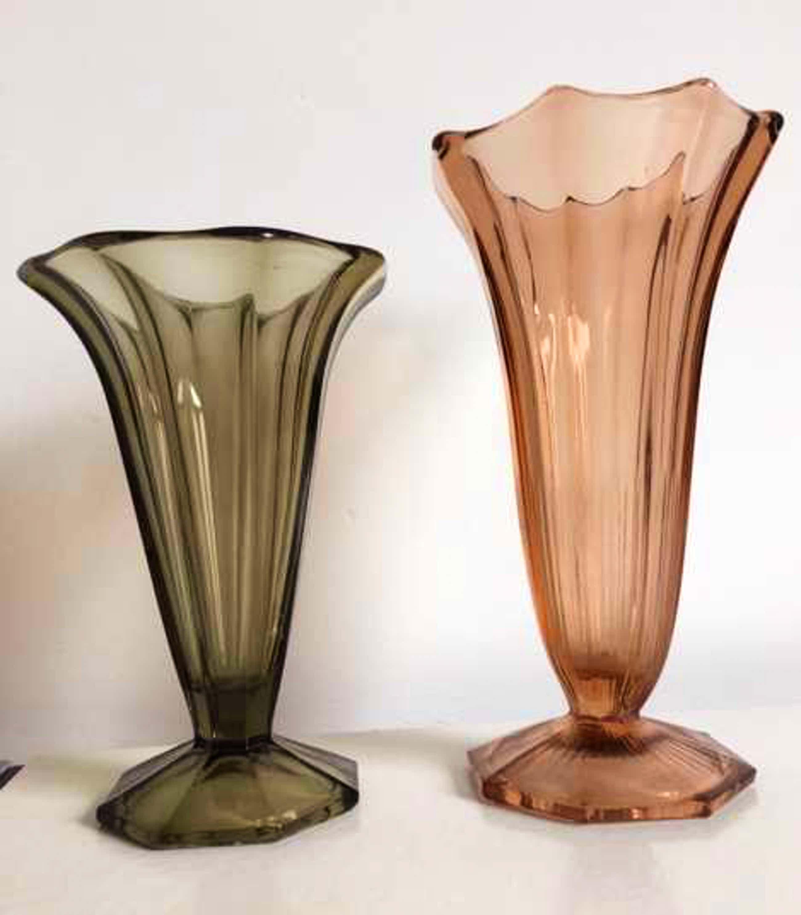 Val-Saint-Lambert - Art Deco 2 Luxval glazen vazen kopen? Bied vanaf 45!