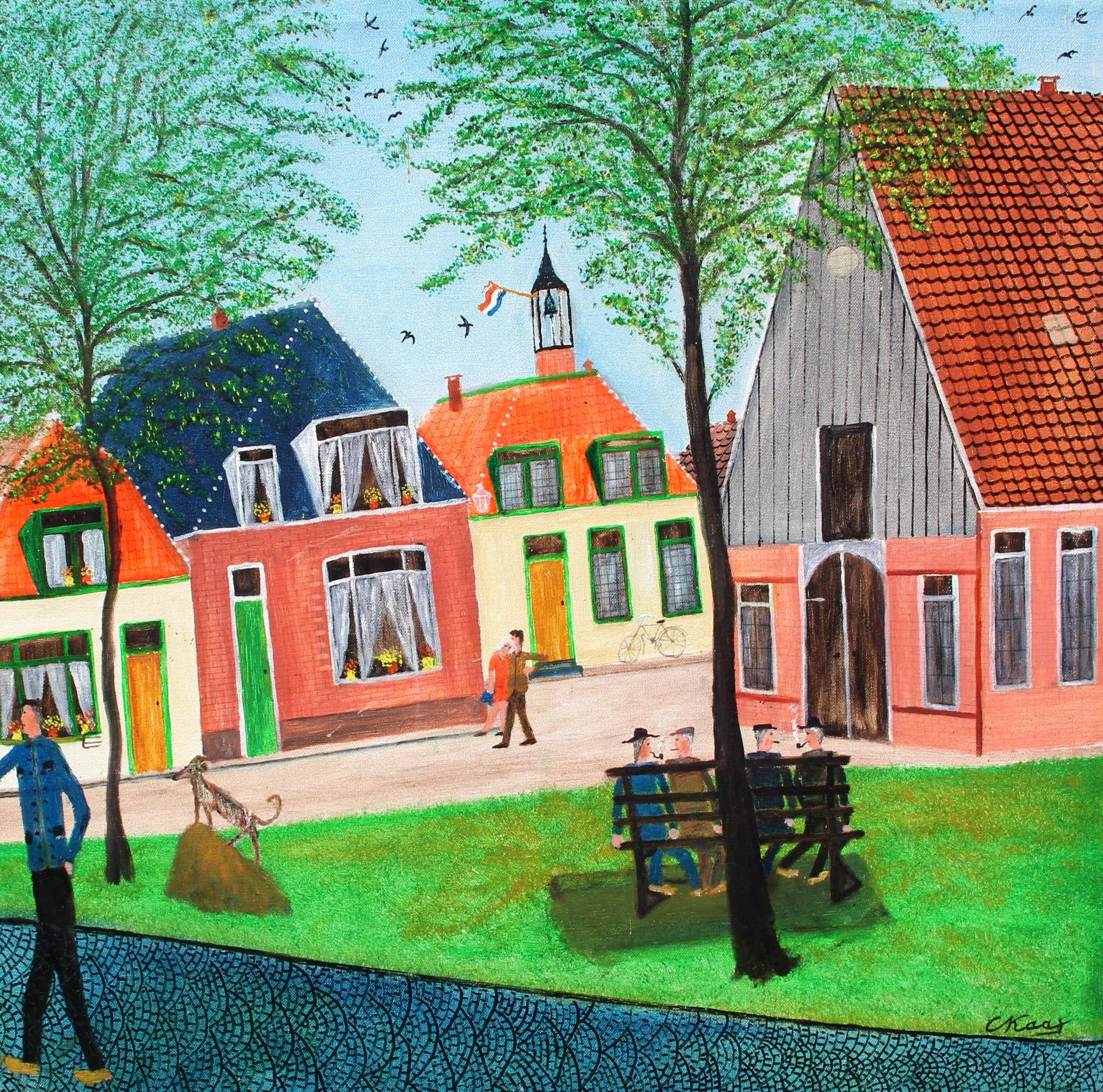 Cornelis Kaay - Olieverf op doek: Figuren op een dorpsplein kopen? Bied vanaf 1250!