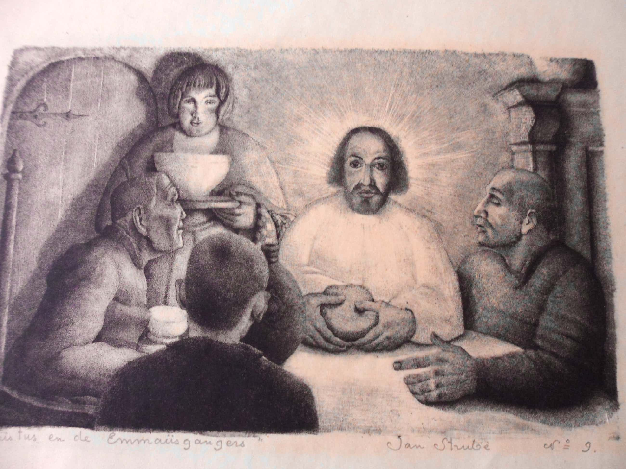 Jan Strube - Litho Titel. Christus en de Emmaüsgangers. kopen? Bied vanaf 40!