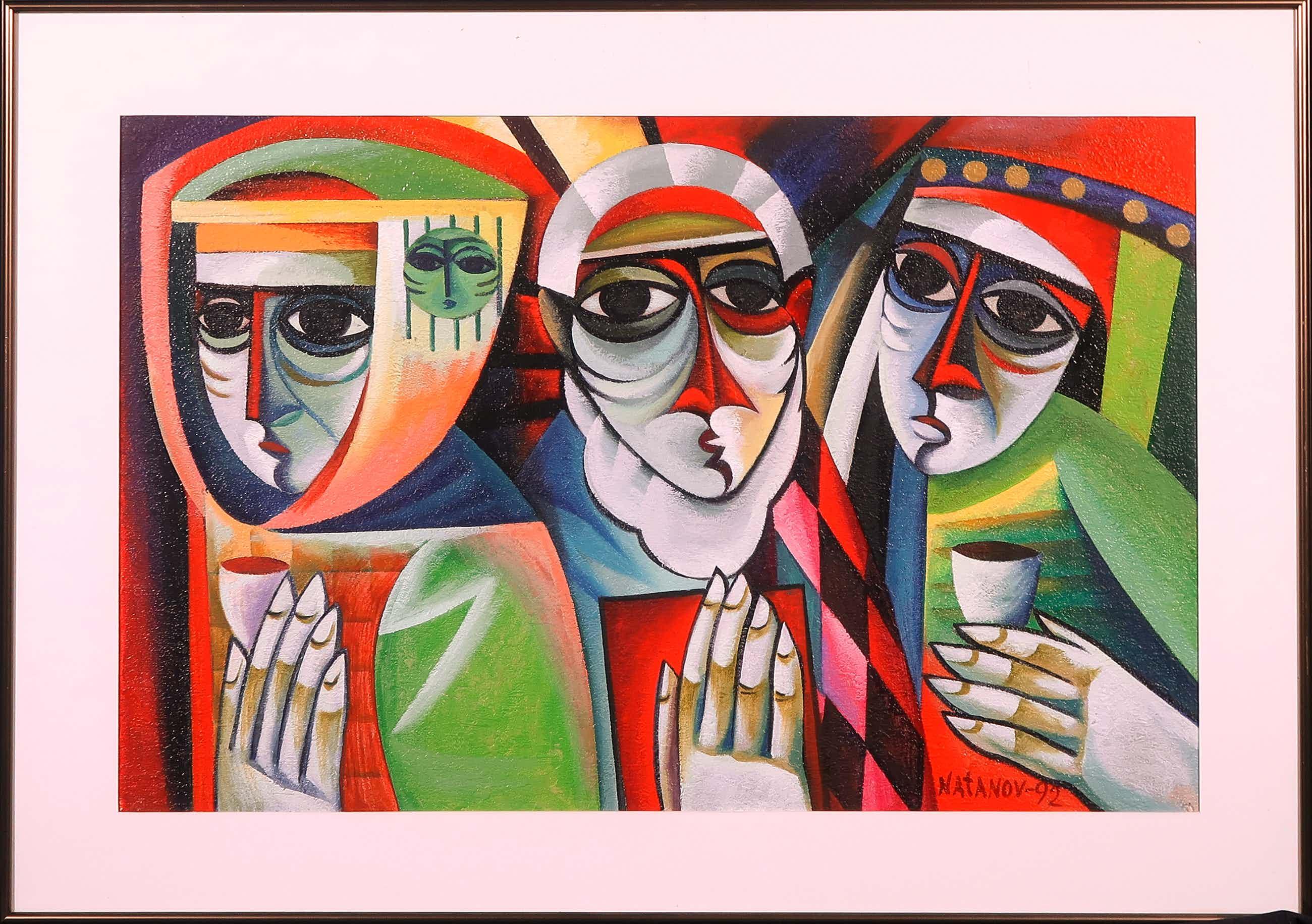 Arkadi Natanov - Acryl op papier, Drie figuren - Ingelijst kopen? Bied vanaf 220!