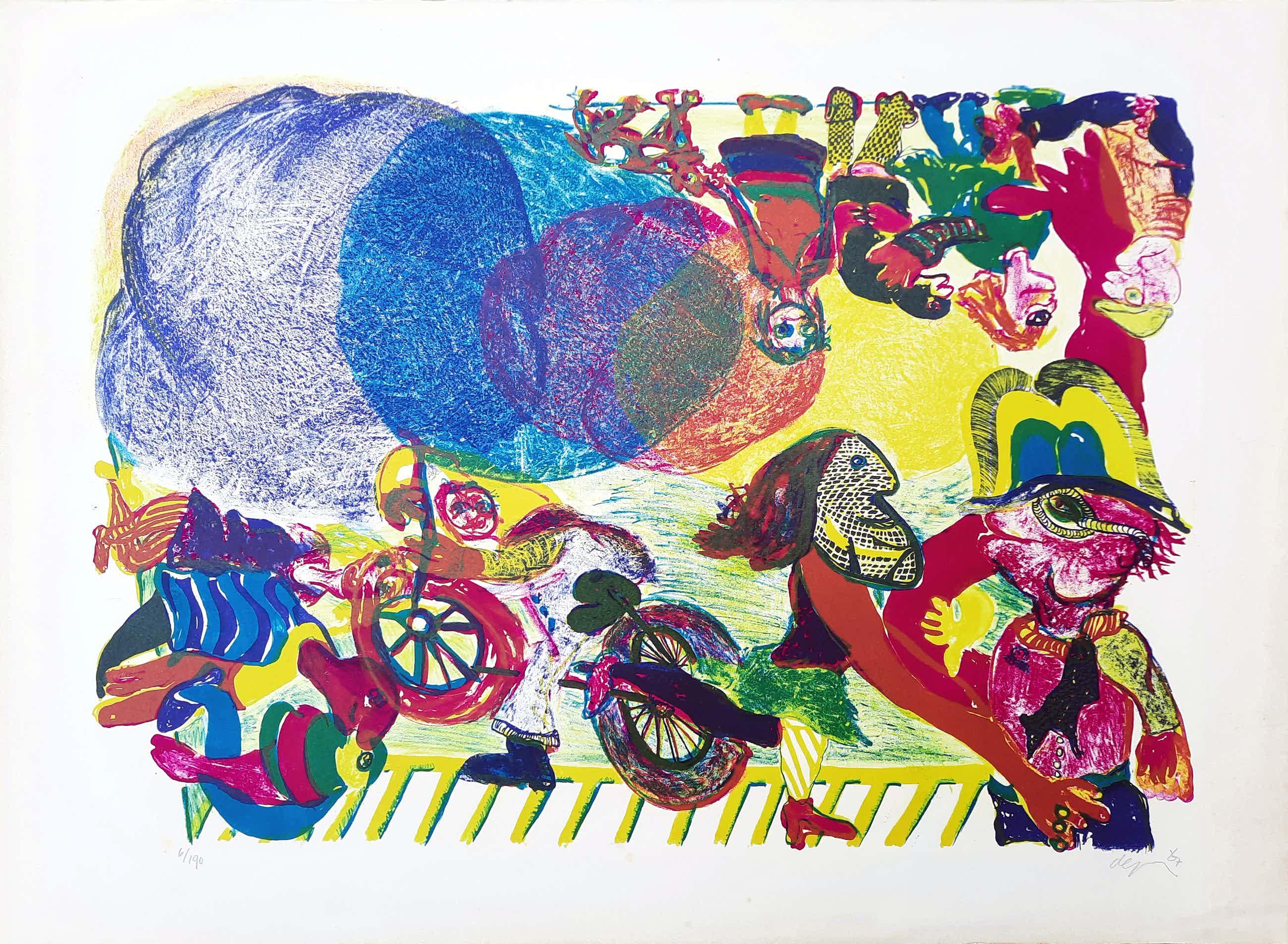 Jacqueline de Jong - kleurrijke steendruk - Zonder titel 6/190 - prent 190 - 21924 kopen? Bied vanaf 75!