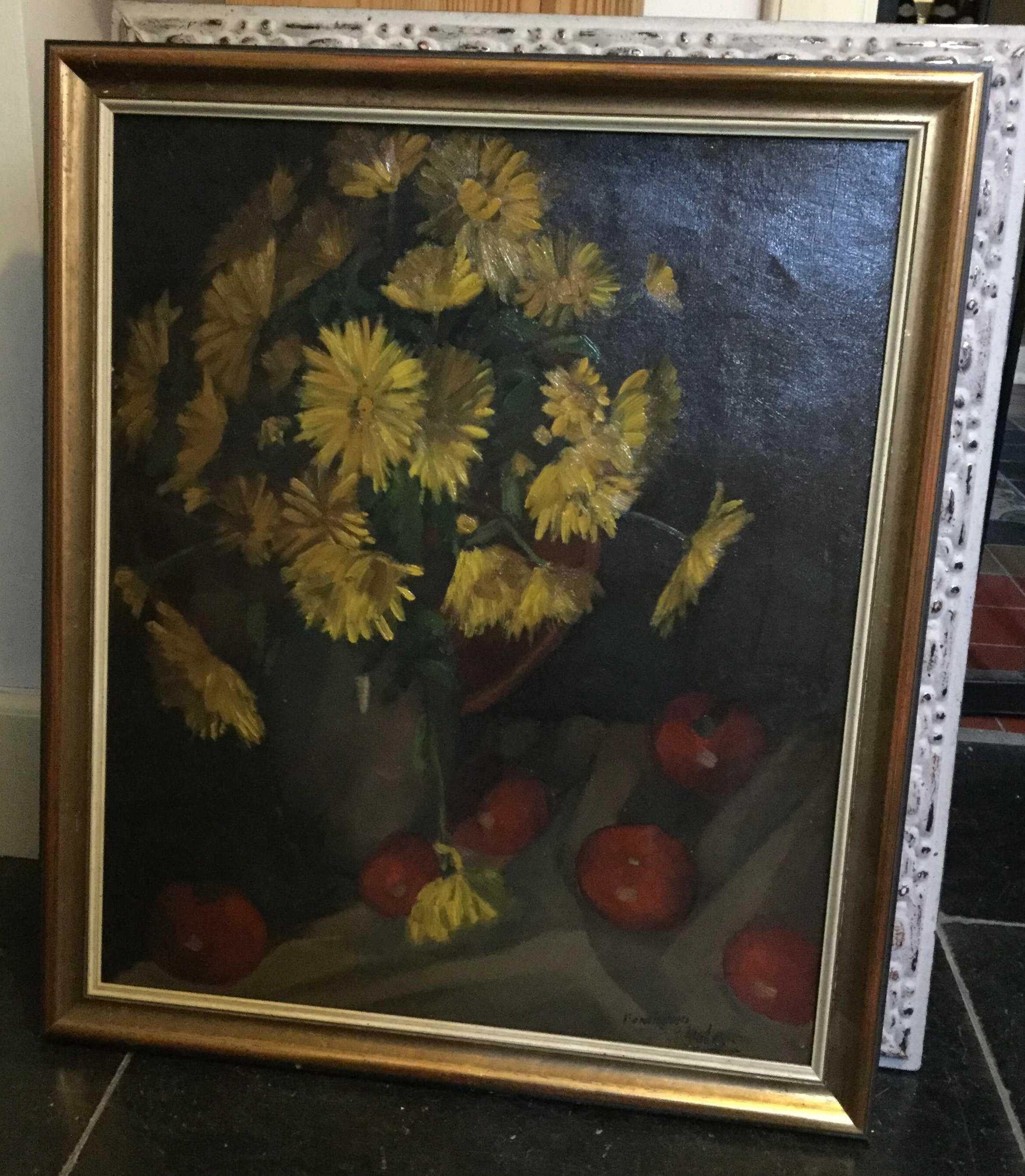 Niet of onleesbaar gesigneerd - c3115, bloemstilleven met chrysanten en tomaten kopen? Bied vanaf 10!