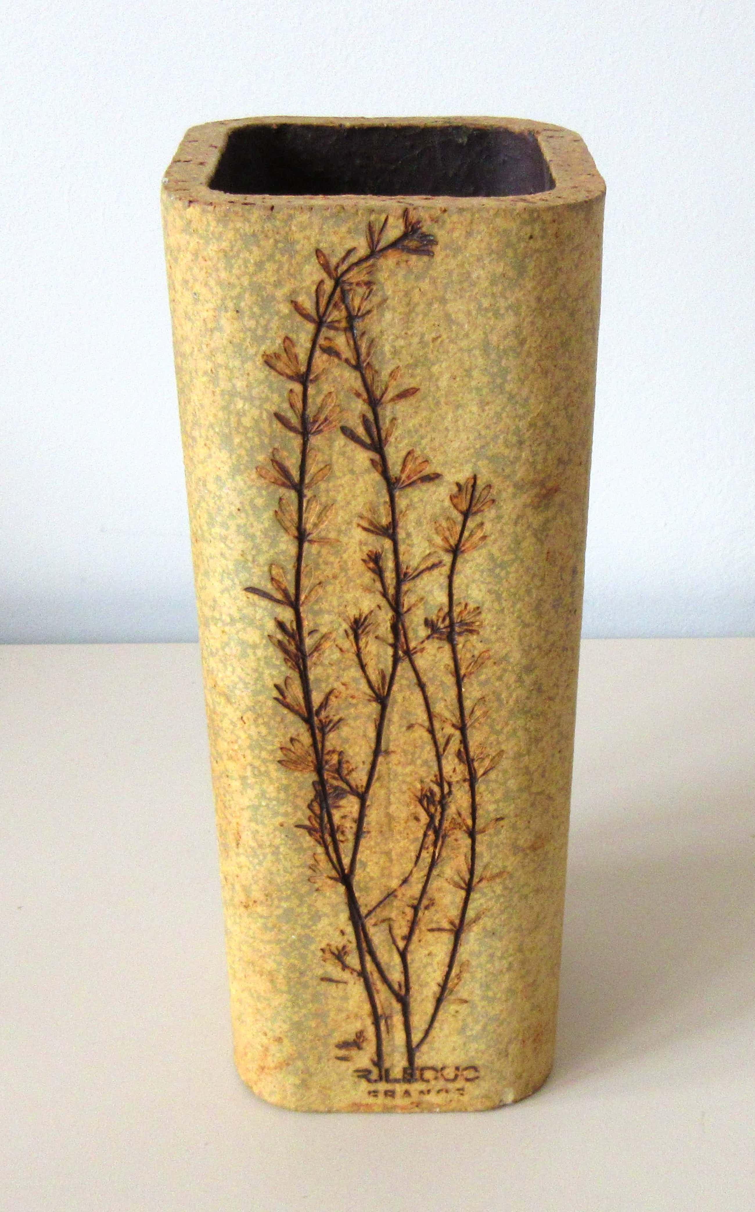 Vallauris Keramiek - Vierkante gres aardewerken Herbier vaas - Raymonde Leduc kopen? Bied vanaf 10!