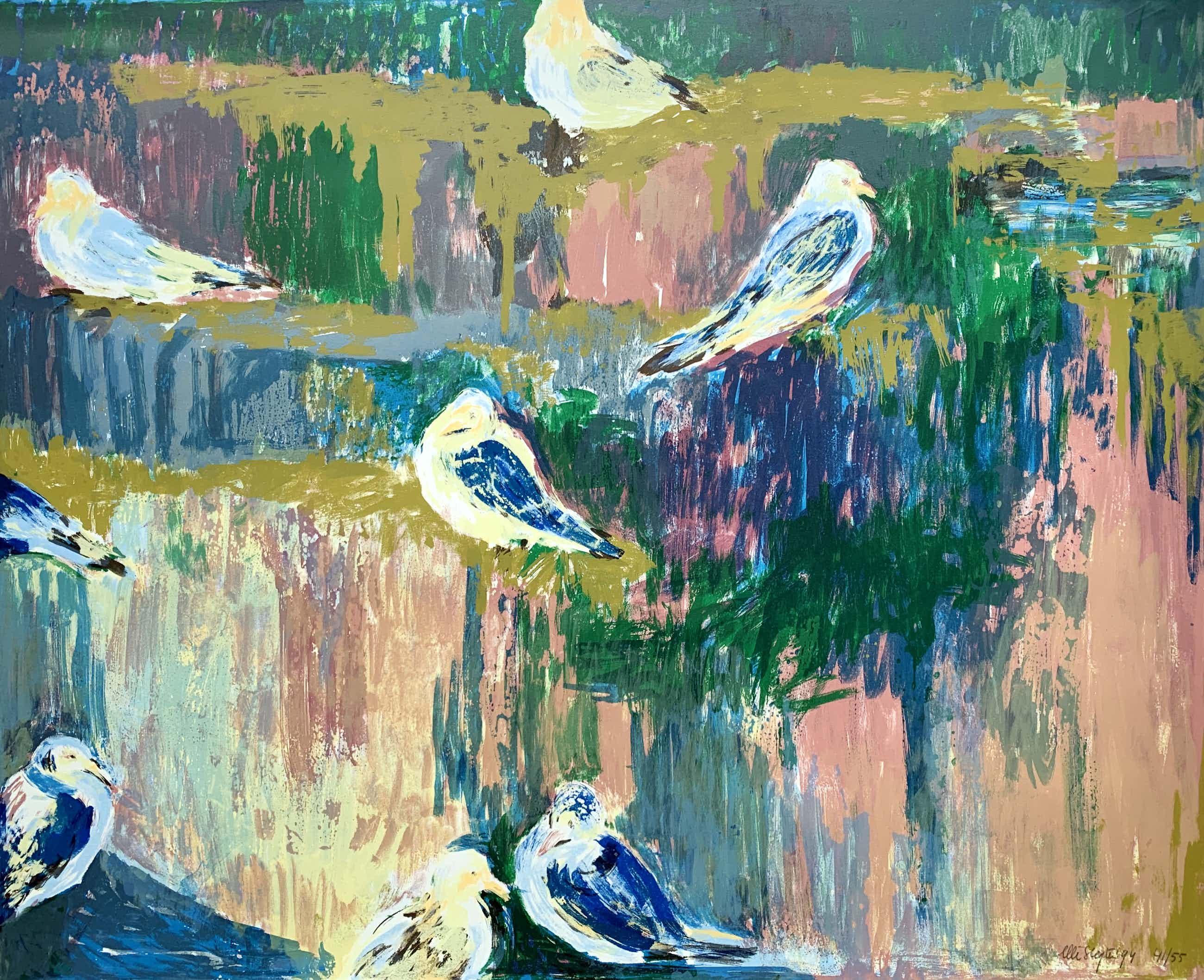Ellie Slegten - kleurenlitho | 'Vogels' | 1994 kopen? Bied vanaf 50!
