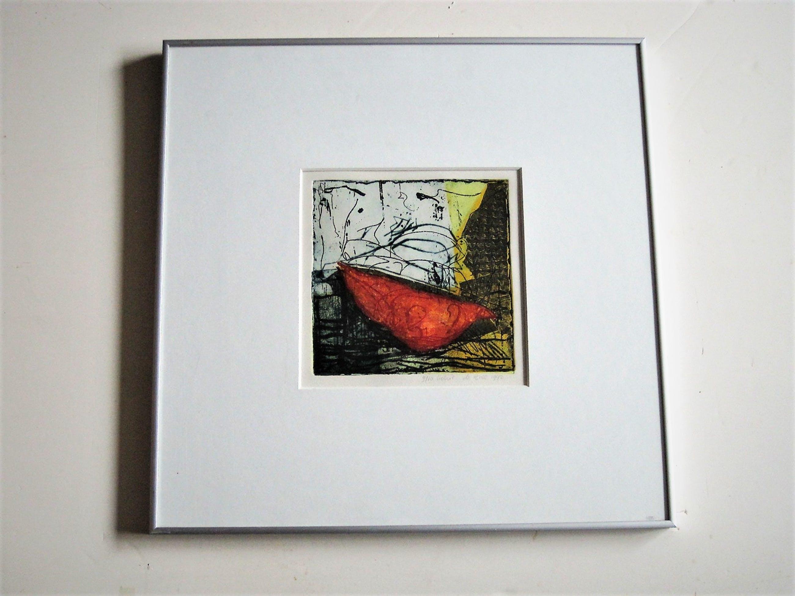 """Lukie de Bree - Willem de Kooning Academie - Gesigneerde Zeefdruk """"abstracte Compositie"""" kopen? Bied vanaf 10!"""