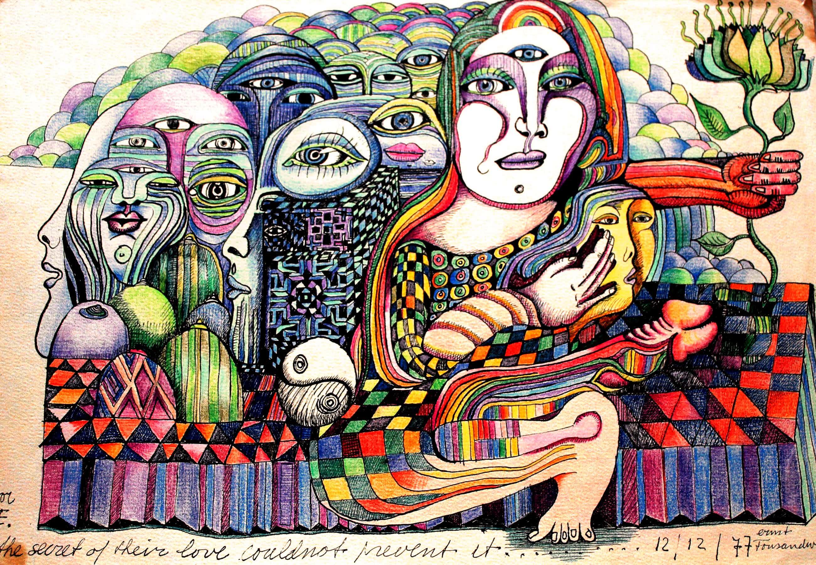 Ernst Vijlbrief - tekening: The secret of their love could not prevent it - 1977 kopen? Bied vanaf 60!