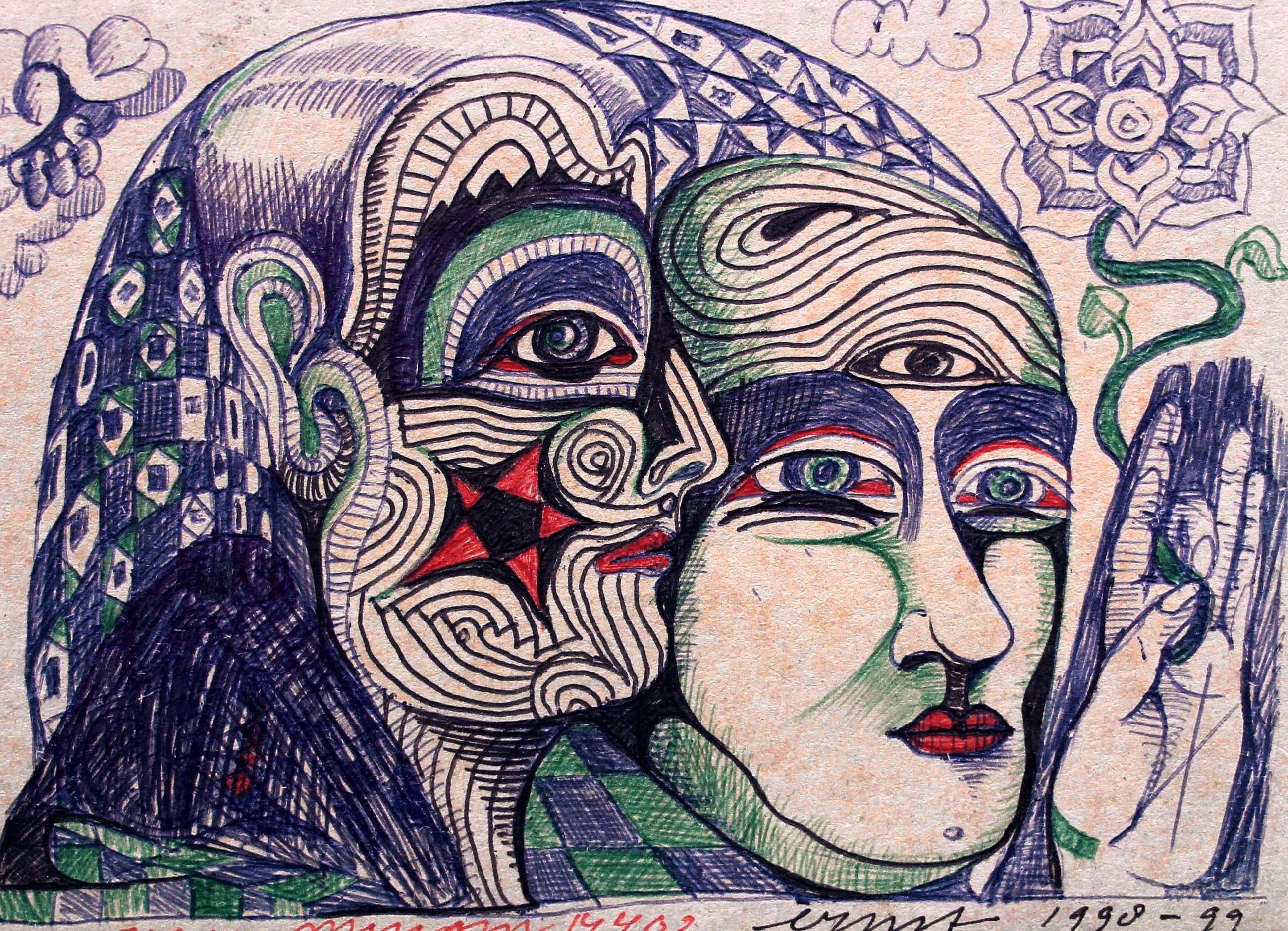 Ernst Vijlbrief - pentekening op karton - 1998/99 kopen? Bied vanaf 55!
