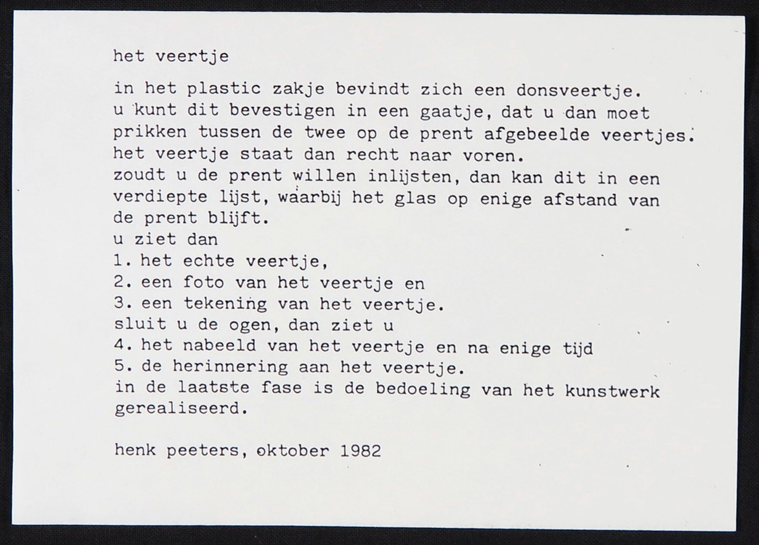 Henk Peeters - Zeefdruk, Het Veertje (inclusief veertje) kopen? Bied vanaf 250!