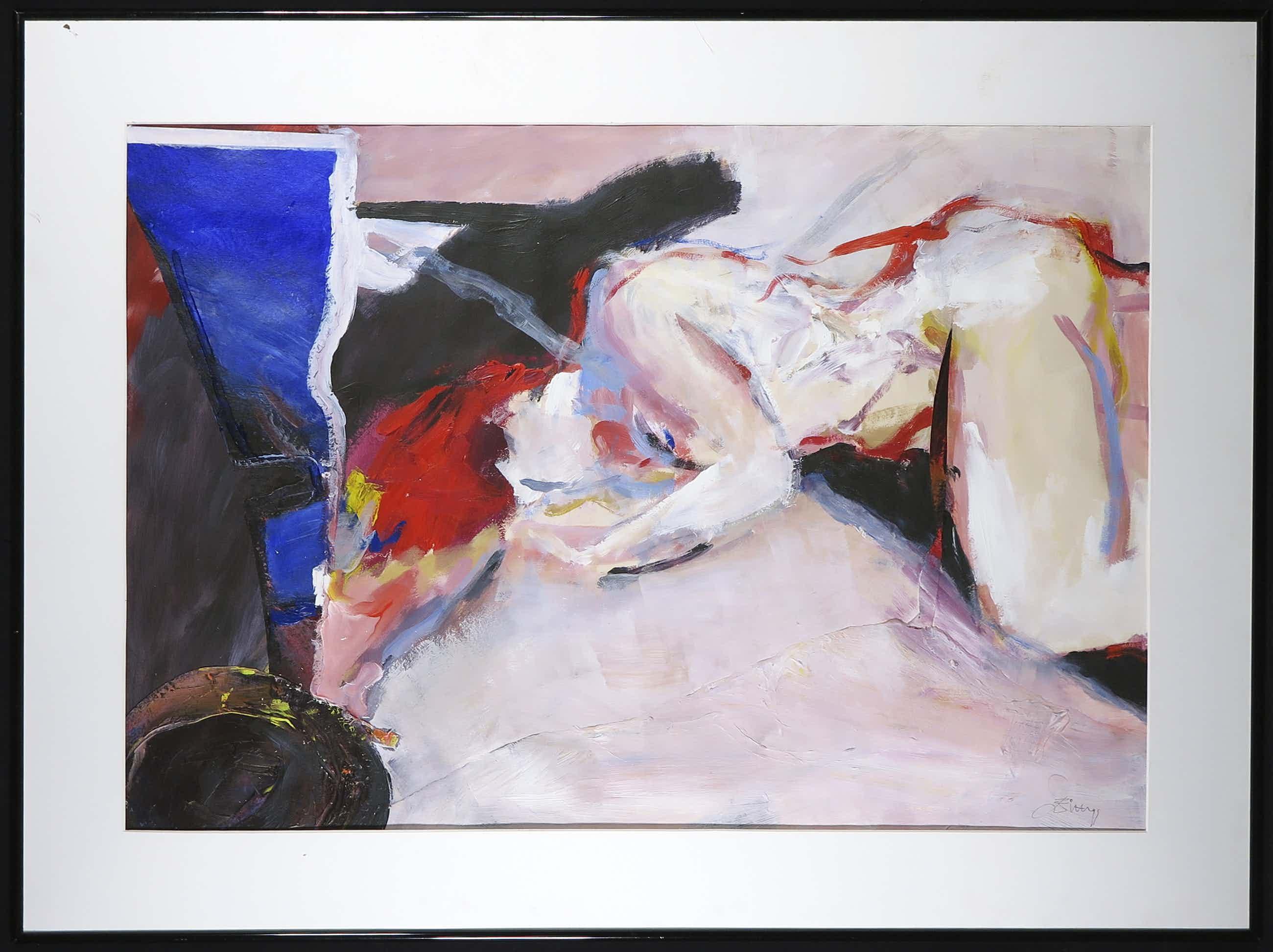 Franscz Witte - Acryl en collage op papier, Tegenstelling - Ingelijst (Groot) kopen? Bied vanaf 80!