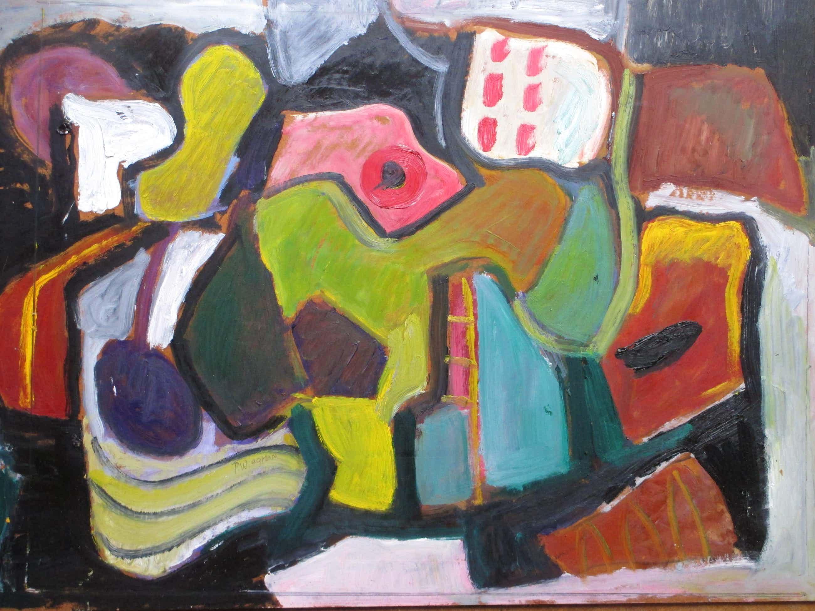 Piet Wiegman (II) - Abstracte kleurrijke compositie - Olieverf/board kopen? Bied vanaf 110!