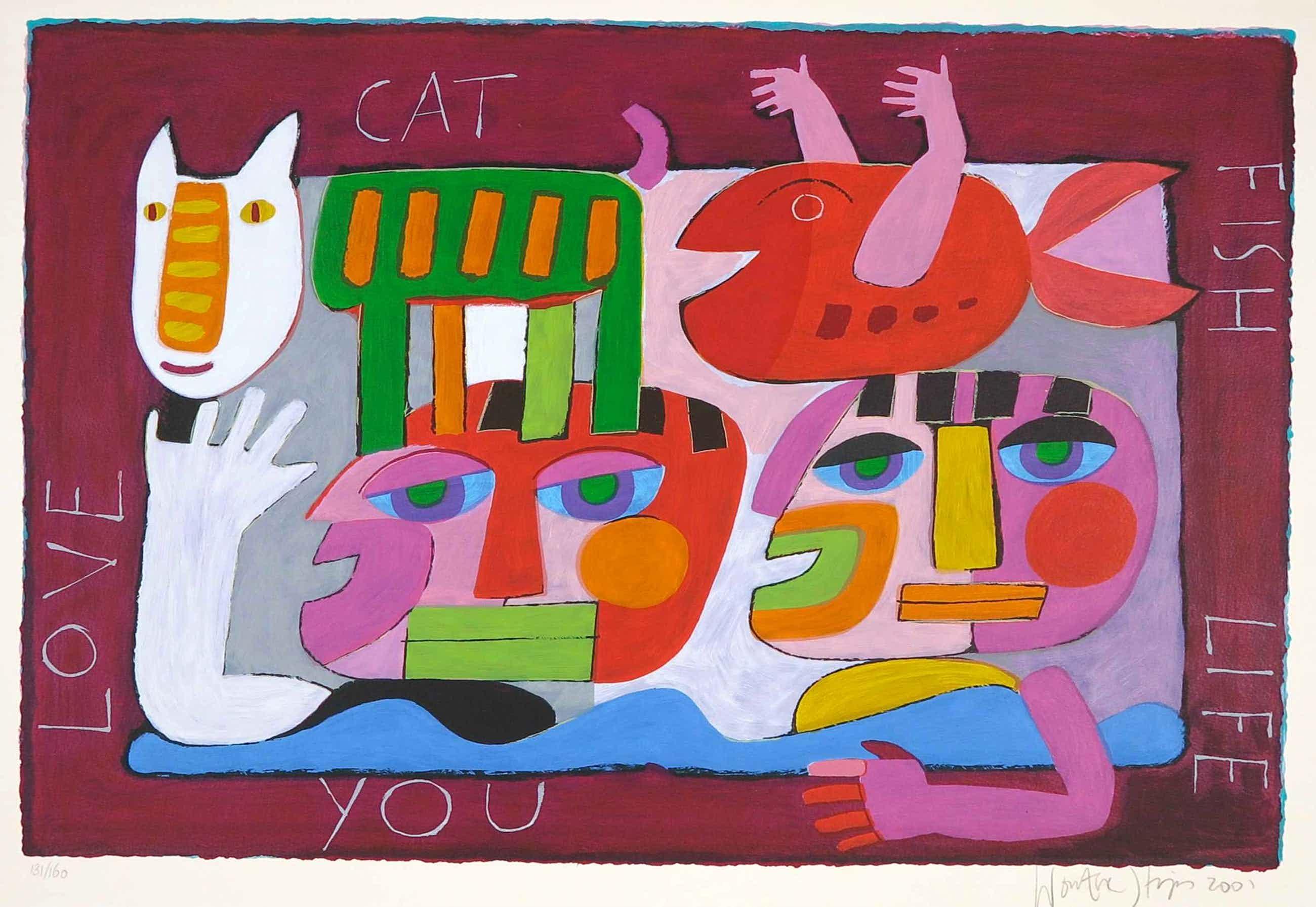 Wouter Stips - Zeefdruk, Love Cat Fish Life You kopen? Bied vanaf 52!