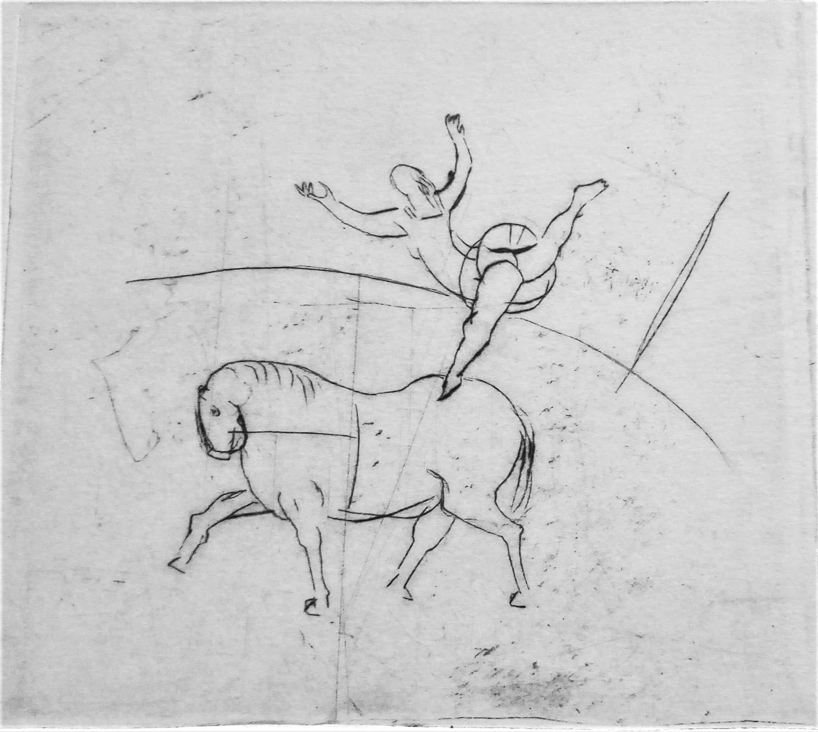 Friso ten Holt - Ets - Circus Acrobaat op Paard - Gesigneerd en Genummerd - 1954 kopen? Bied vanaf 35!