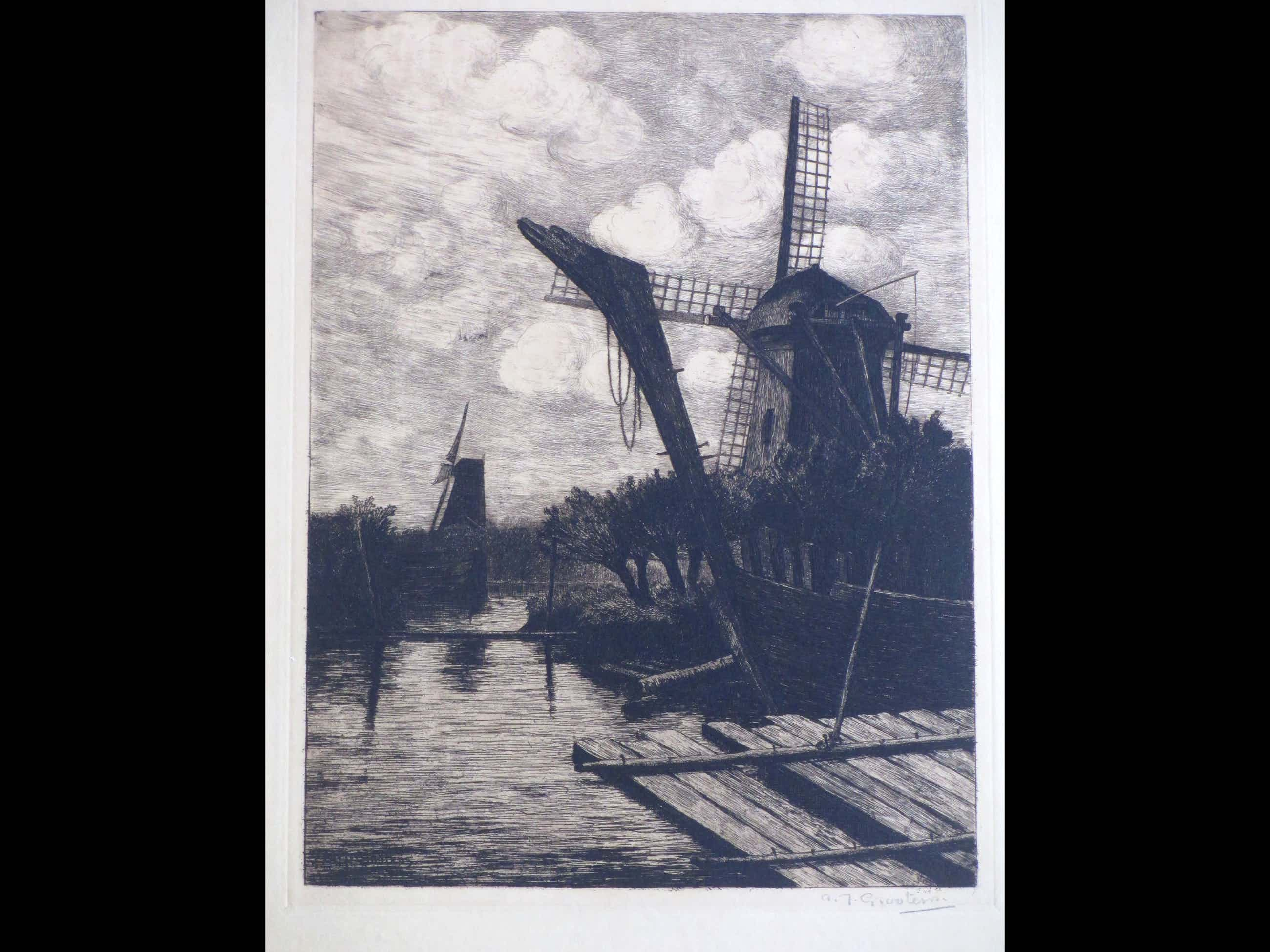 Adrianus Johannes Grootens - Molens aan het water - Ets kopen? Bied vanaf 35!