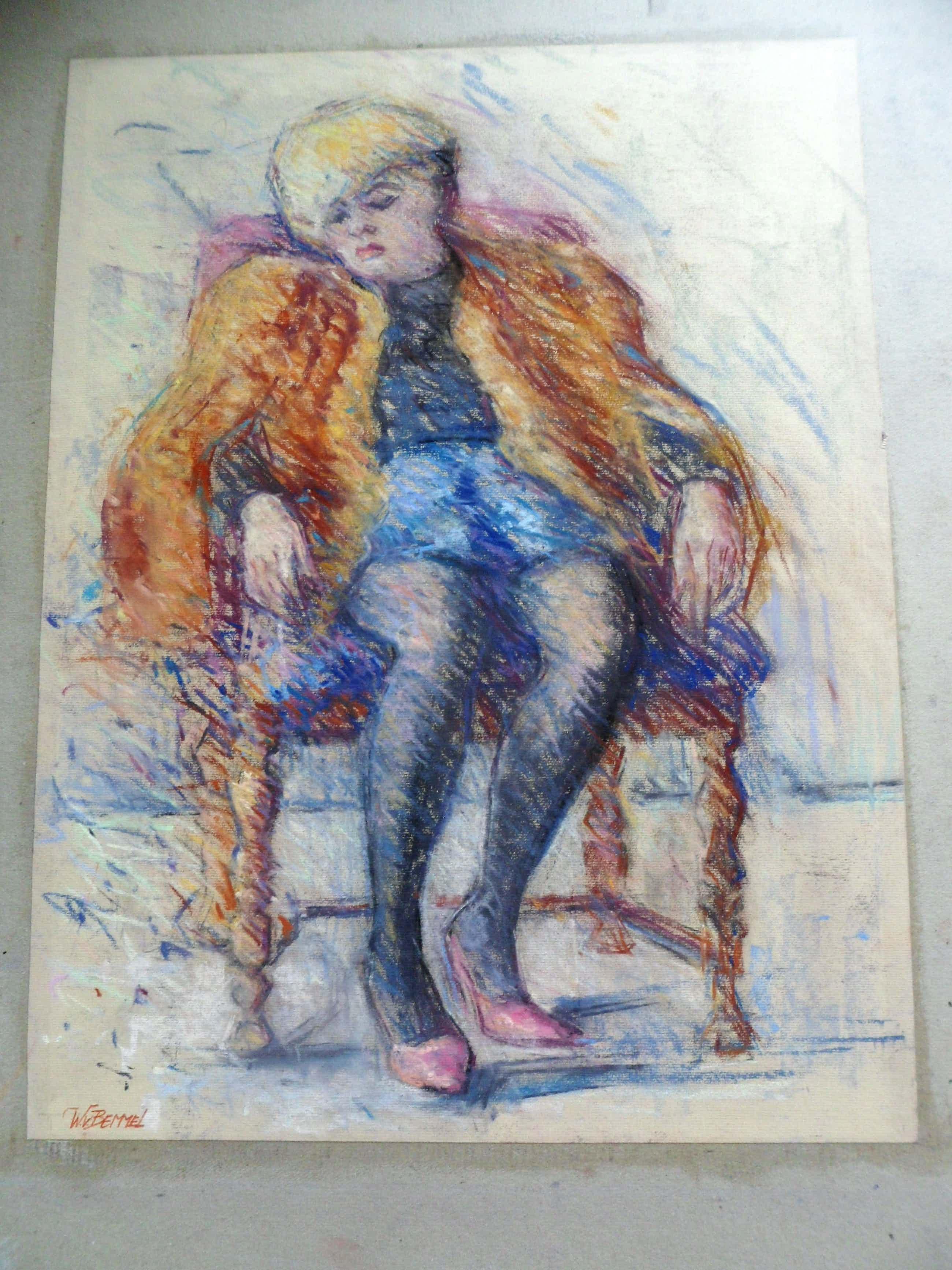Wim van Bemmel - Pasteltekening. Dame in een stoel. kopen? Bied vanaf 35!
