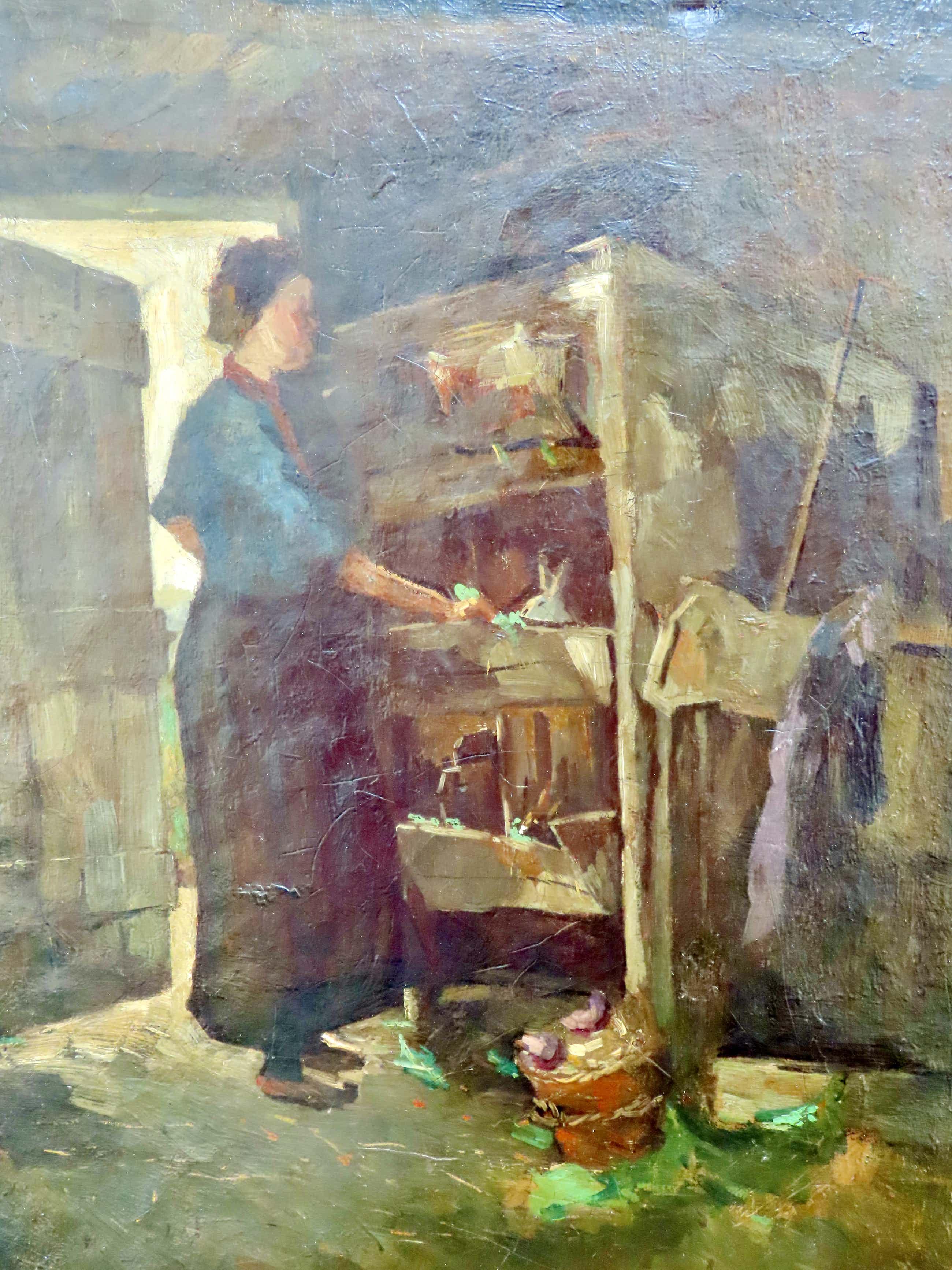 Dirk Roggeveen - (1872-1955) Boerin voert de konijnen in de schuur. kopen? Bied vanaf 95!