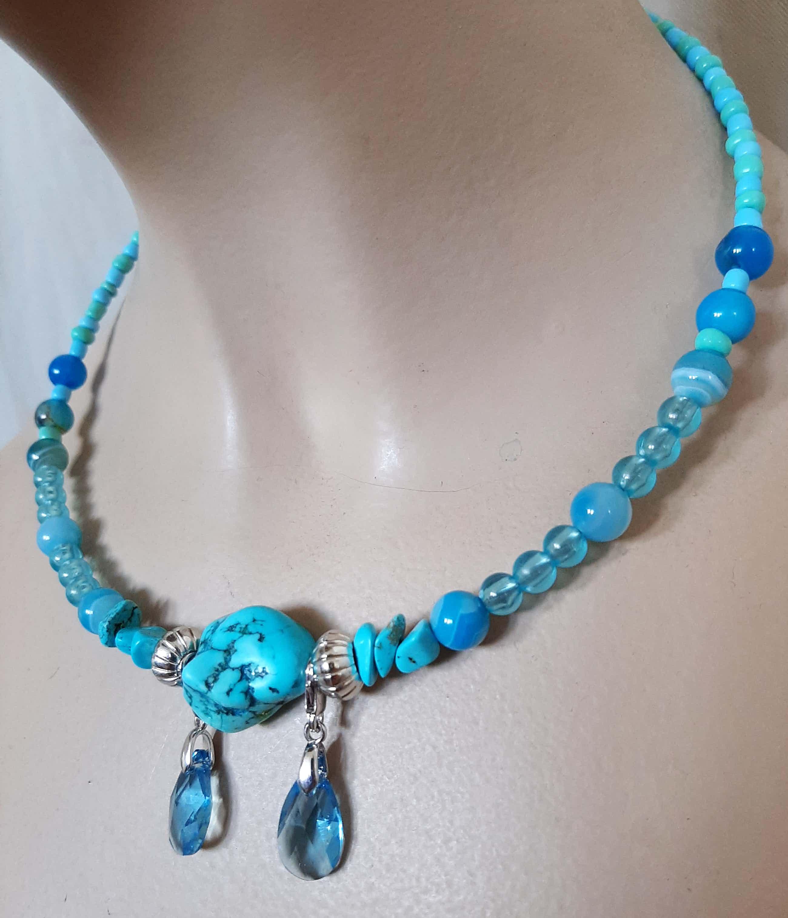 Niet of onleesbaar gesigneerd - Edelsteen ketting , armband, oorbellen van agaat en turquoise kopen? Bied vanaf 25!
