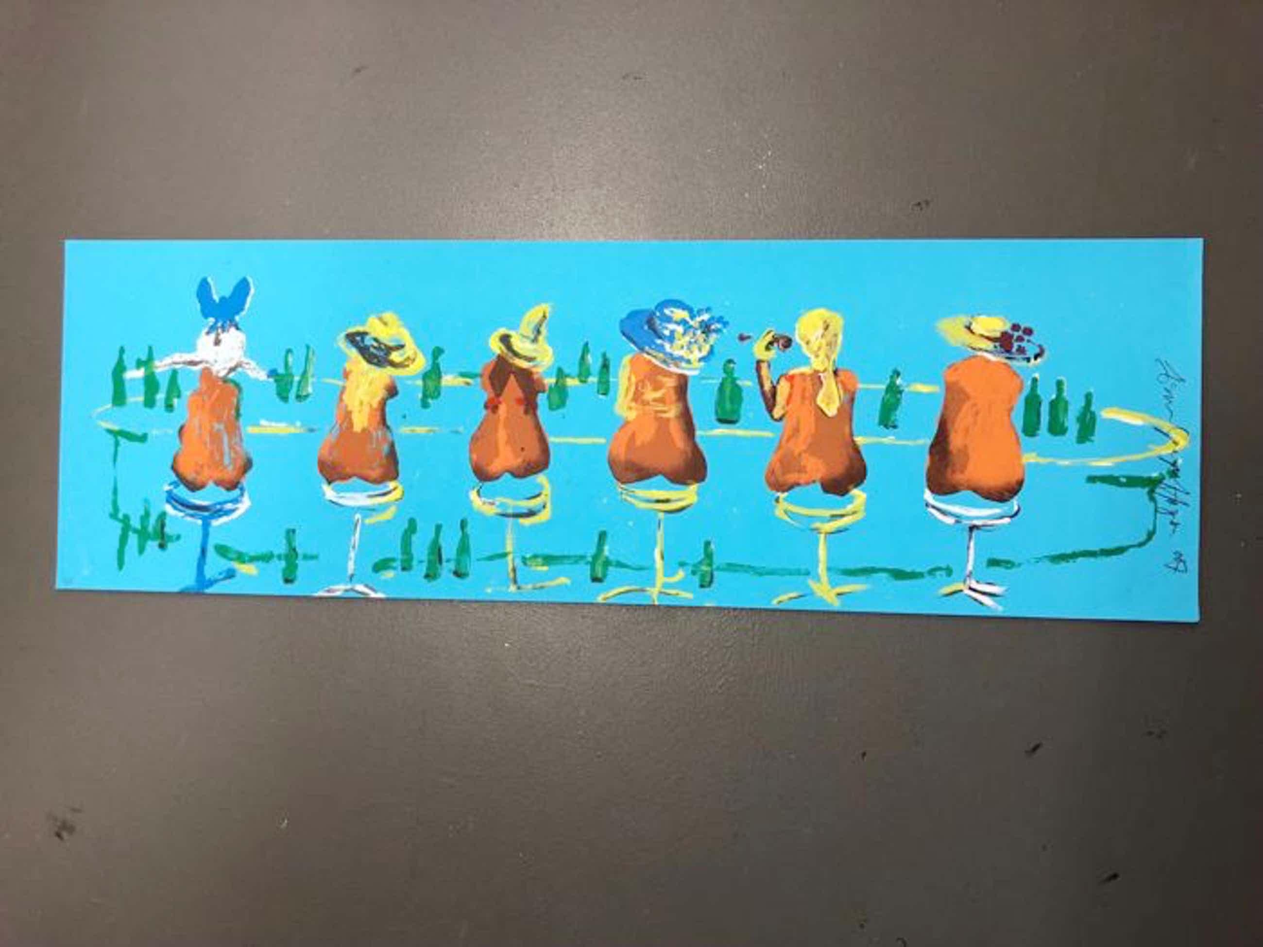 Espen Hagen - Gr Zeefdruk SIX LADIES AT THE BLUE BAR. Hand gesigneerd. kopen? Bied vanaf 40!