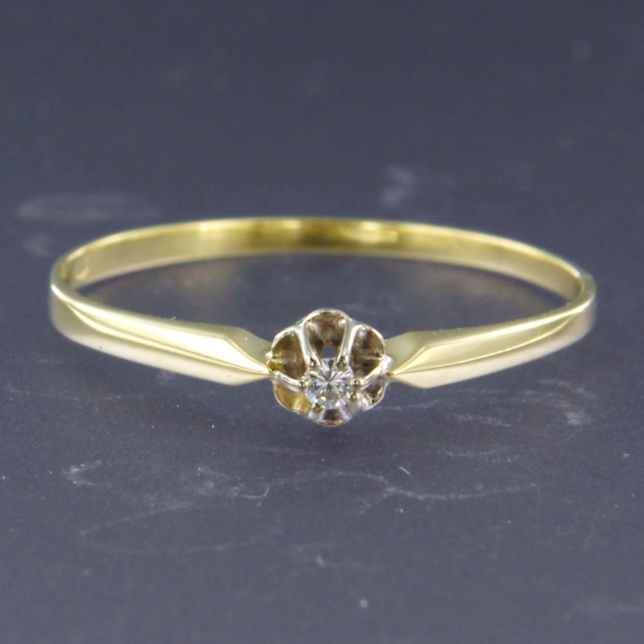 14K Goud - geel- en witgouden ring bezet met diamant - ringmaat 19.25 (60) kopen? Bied vanaf 120!