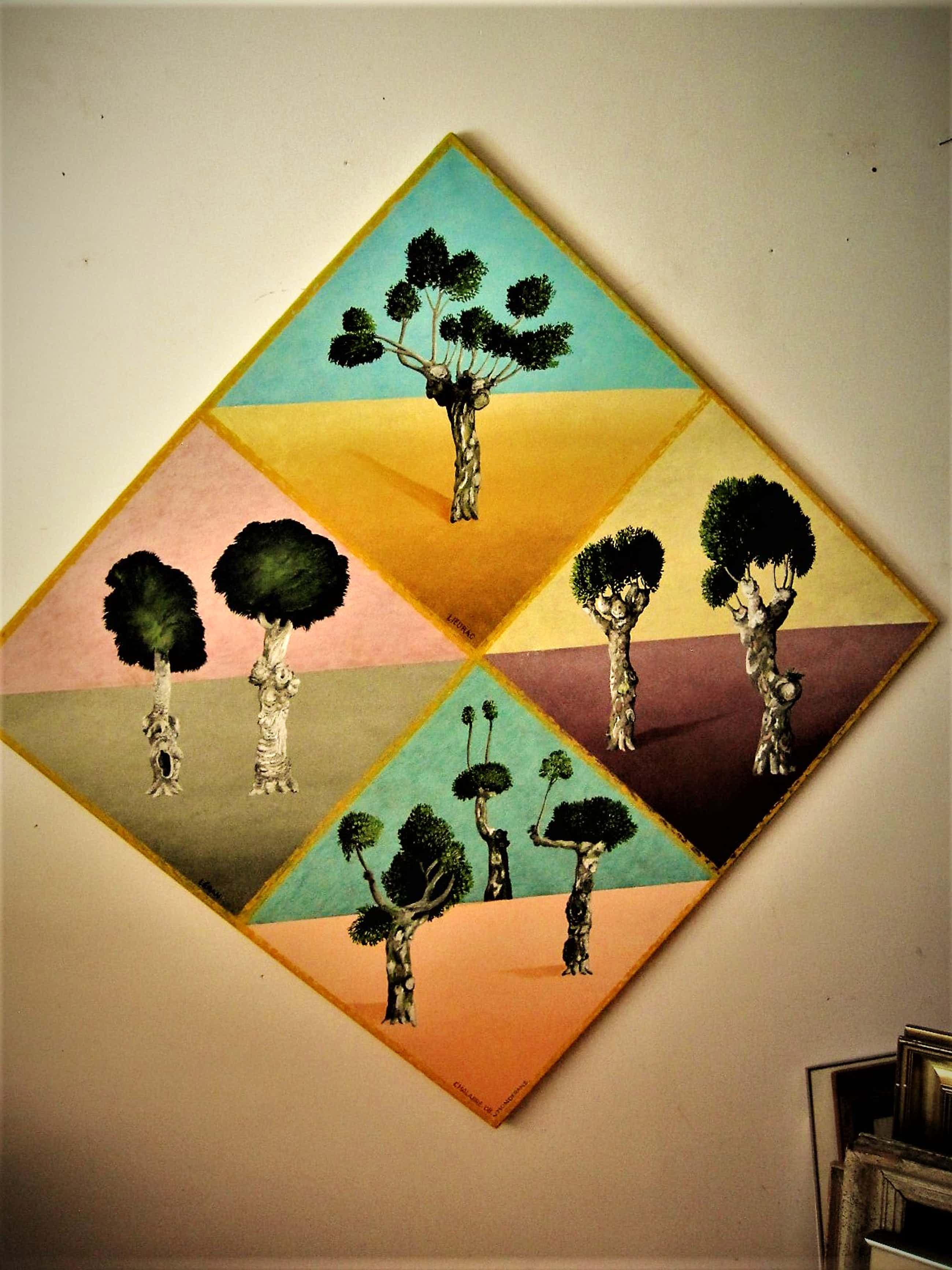 """Erna van Mondfrans - GROOT realistisch olieverf """"Frankrijk de bomen van Chalabre"""" gesigneerd kopen? Bied vanaf 80!"""