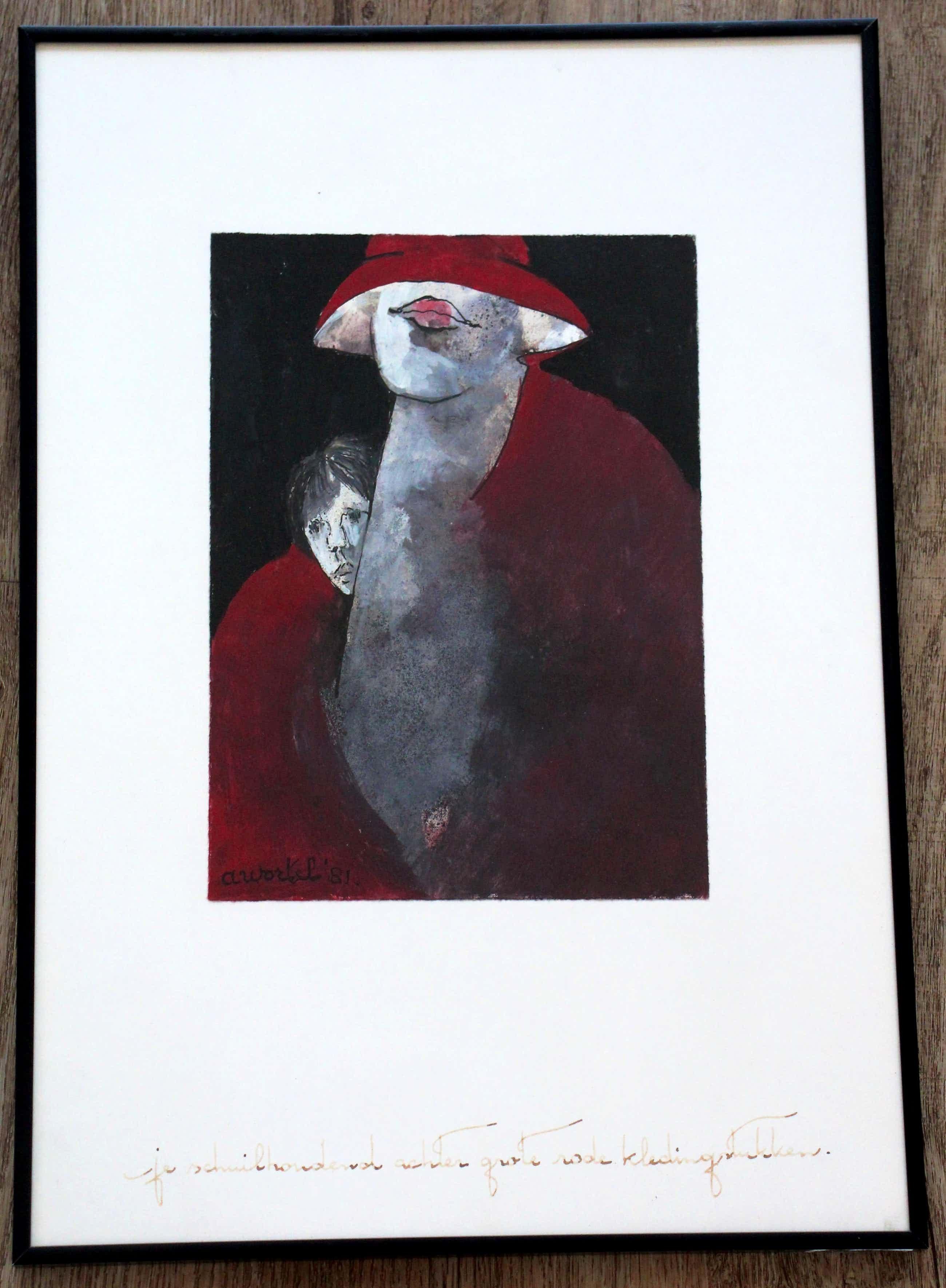 Ans Wortel - Ingelijste gouache: Je schuilhoudend achter grote rode kledingstukken - 1981 kopen? Bied vanaf 199!